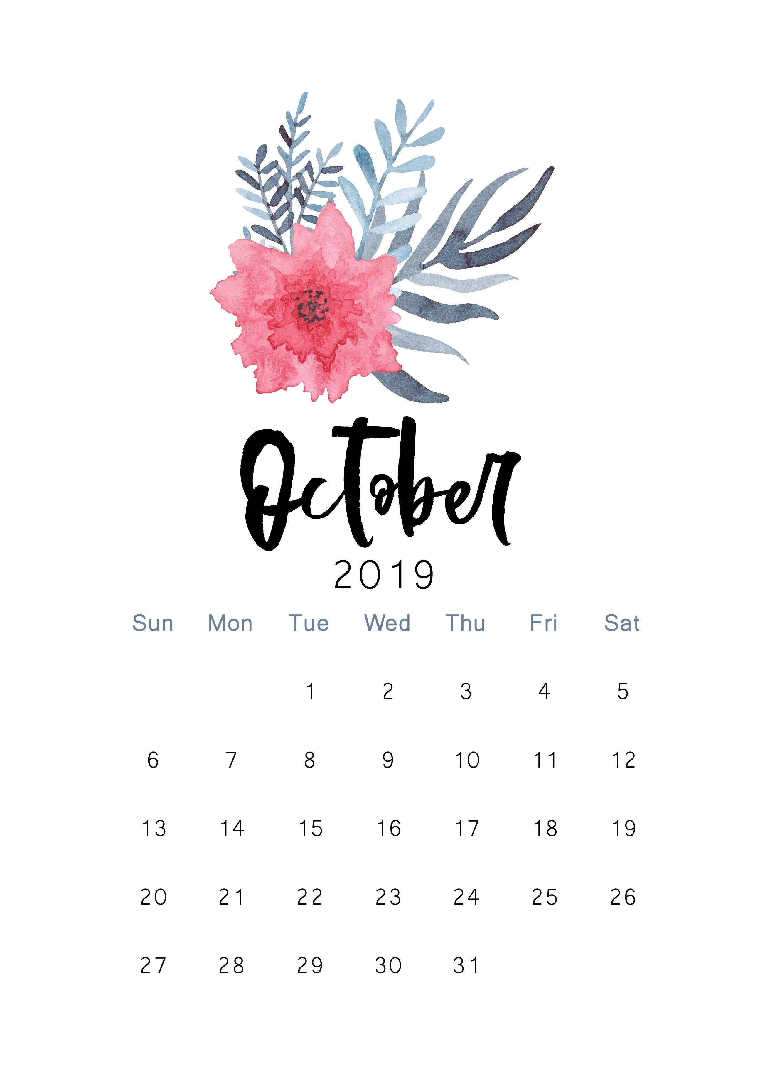 Calendario 2019 Para Imprimir Gratis Bonitos Más Caliente October 2019 Printable Calendar Printable