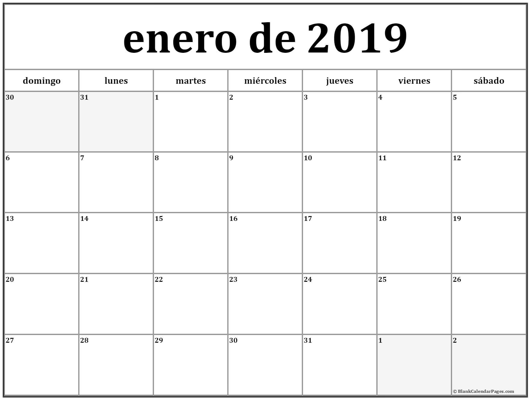 Descargar Fabulosos planificadores best Calendario Del Mes De Enero image collection a través de calendario 2019 para imprimir con