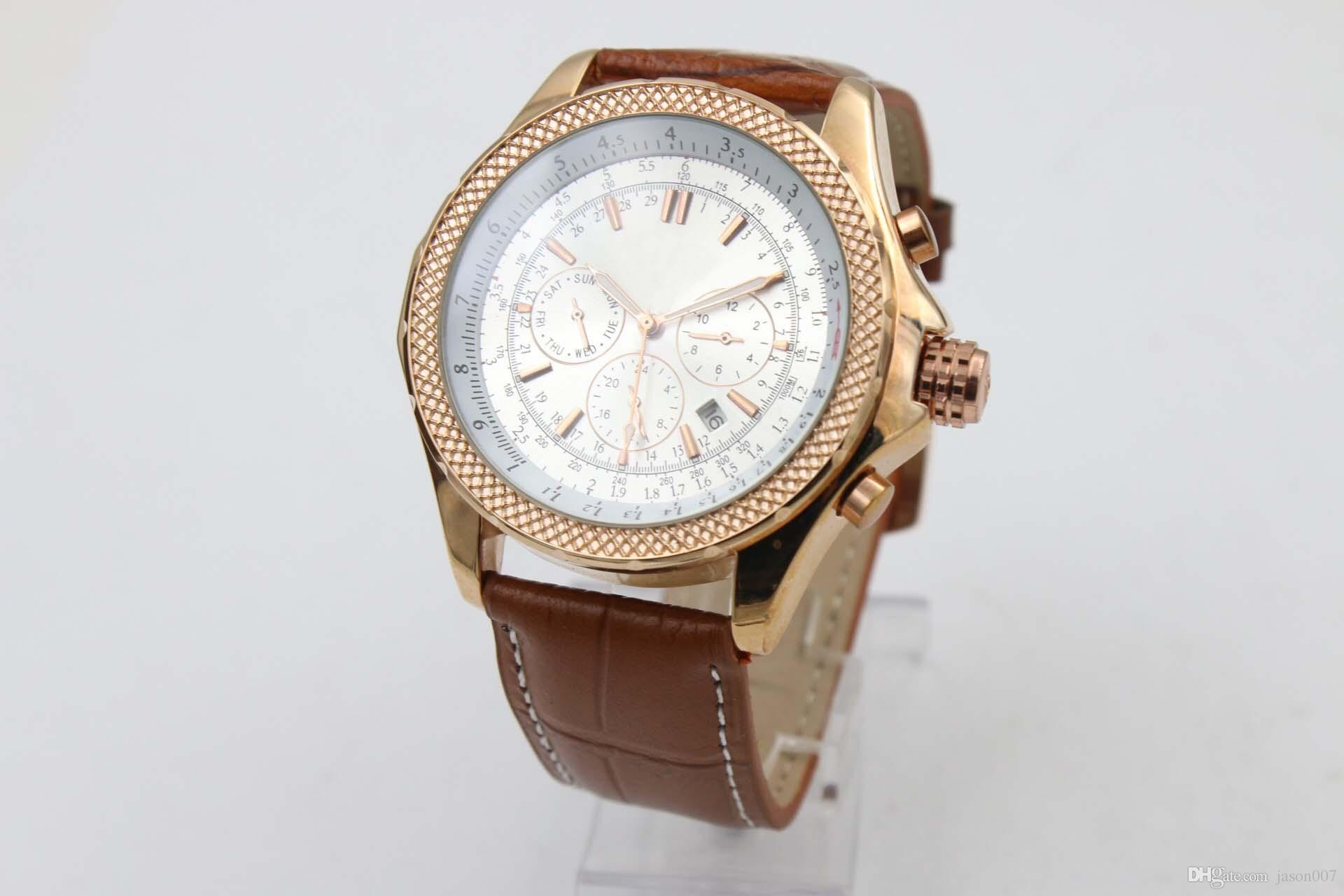 pre Descuento Venta Marca Relojes Automáticos Para Hombre Anal³gico Carro Cara Blanca Motores Reloj Caja Y Esqueleto De Oro Rosa Con Calendario Cuero