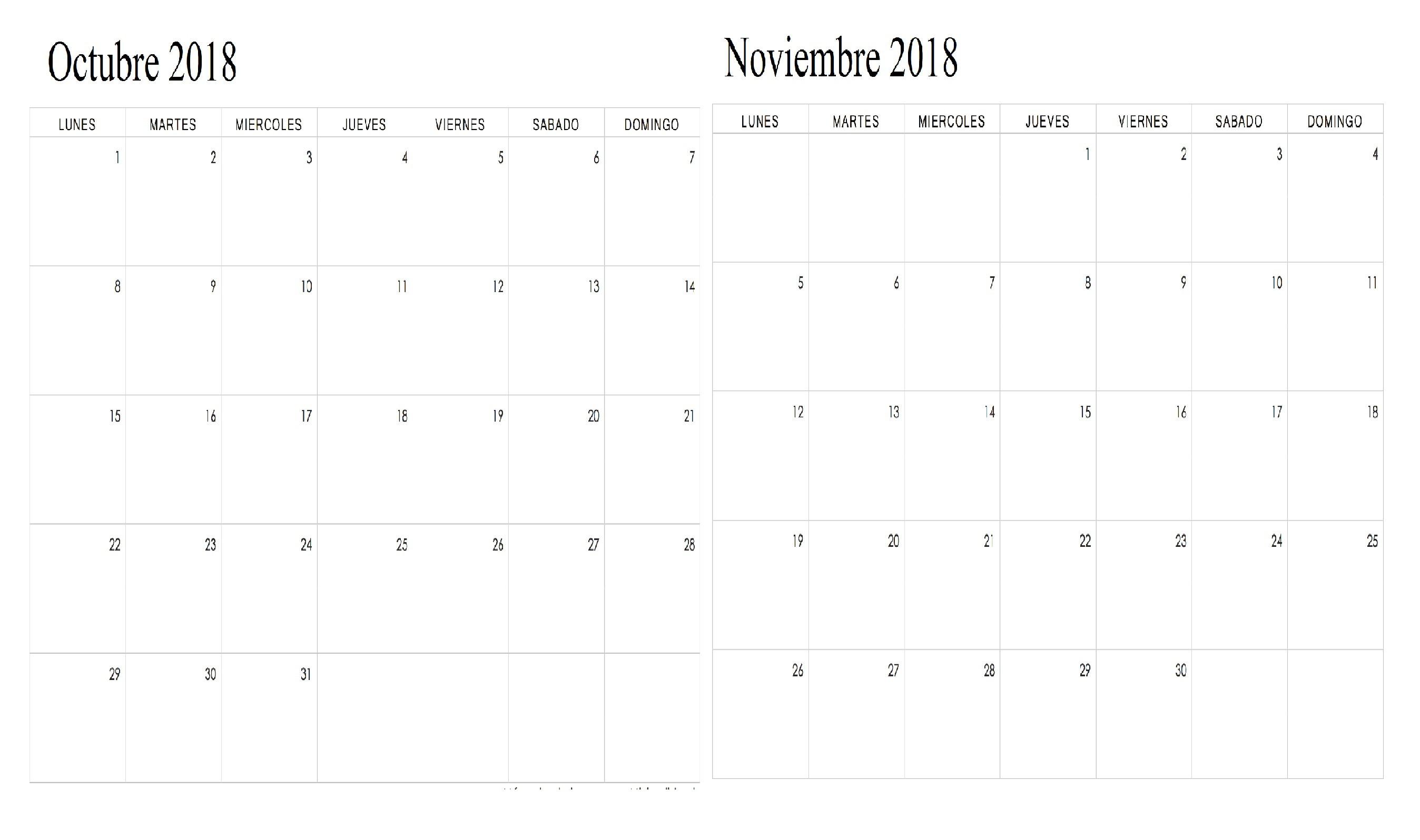 Imprimir mes de Octubre del calendario infantil 2018 para colorear Calendario Octubre Noviembre 2018 Word