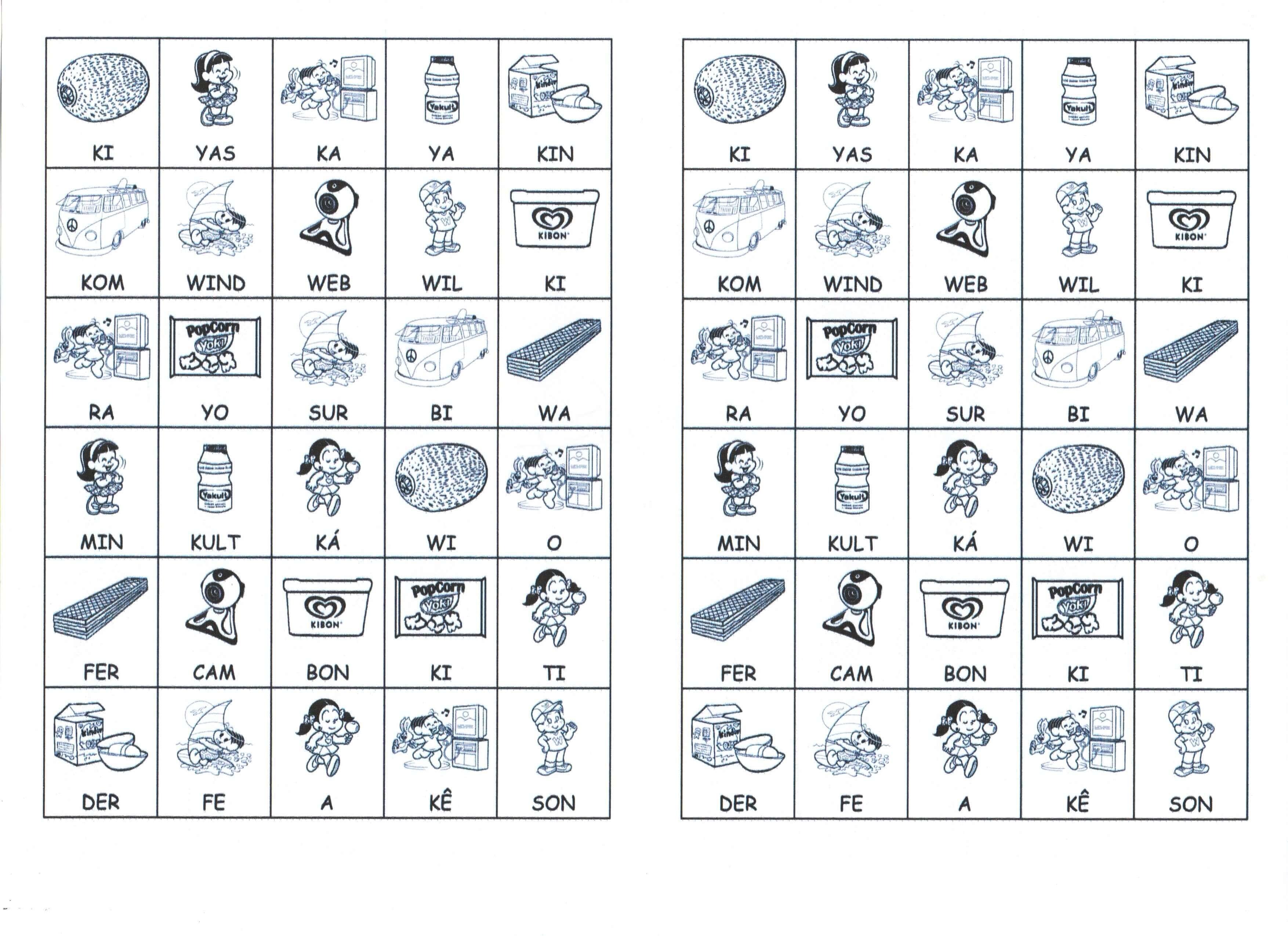 Palavras e desenhos slabas para montar K e Z Letra K