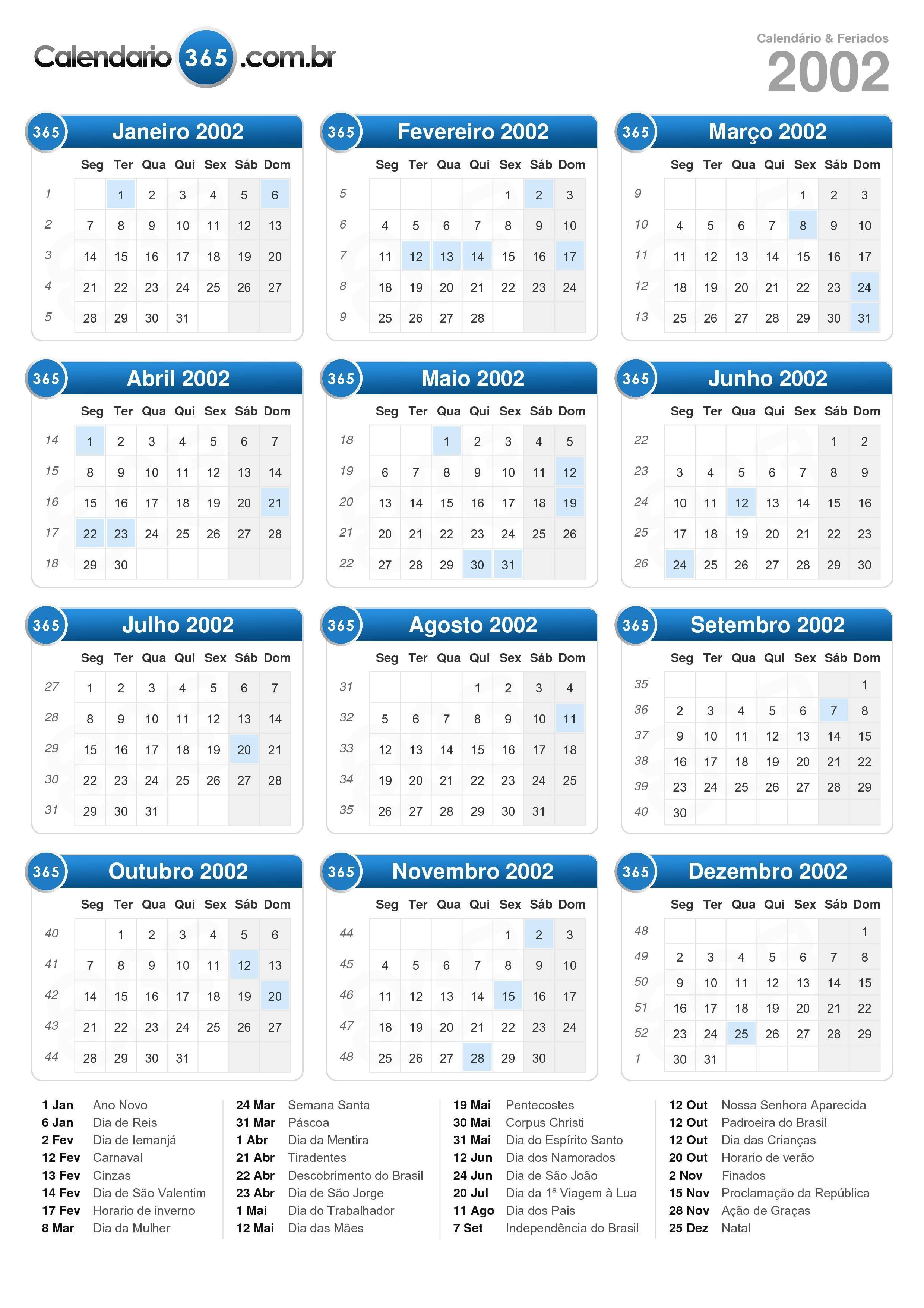 Calendário 2002 formato de retrato