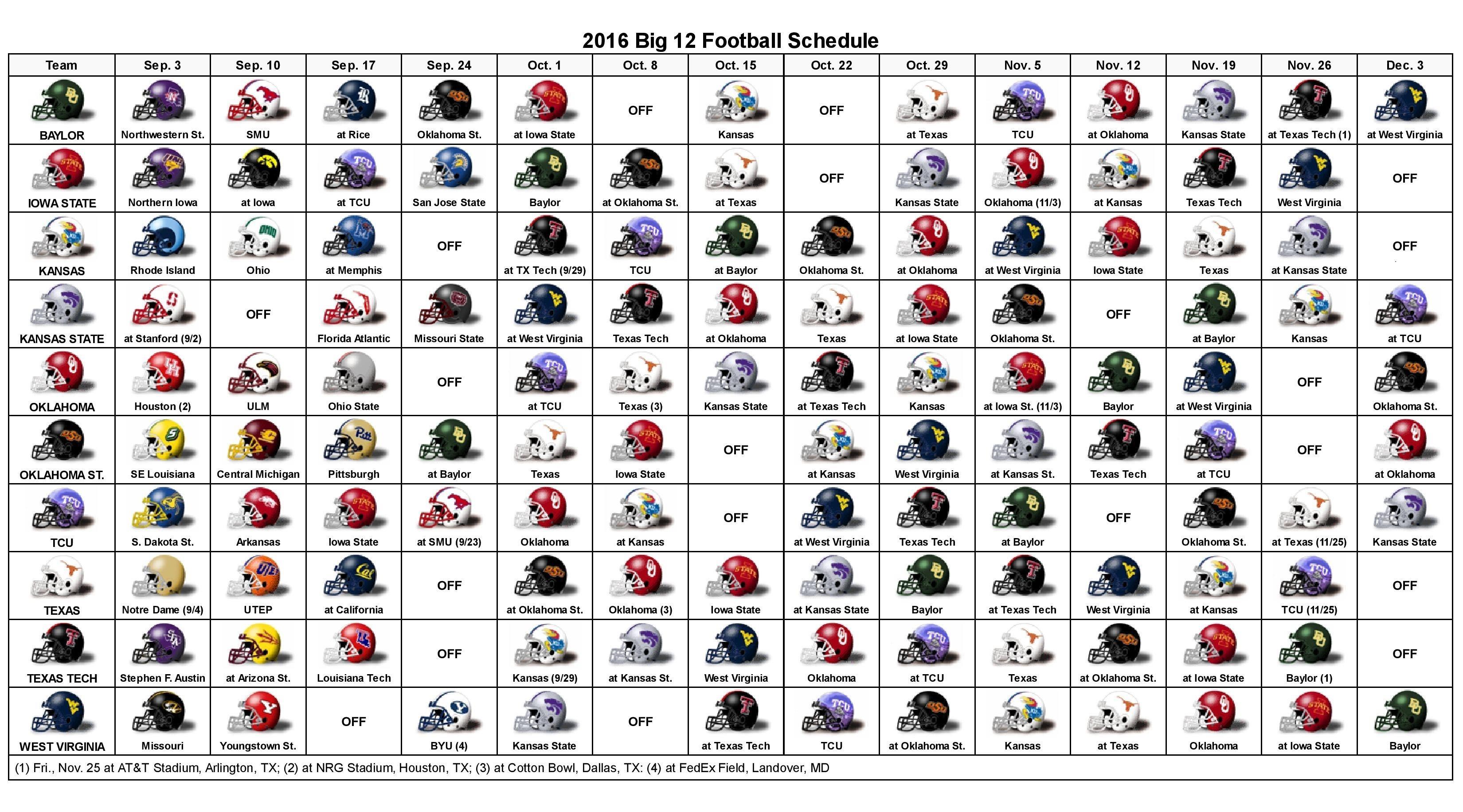 2016 Big 12 Helmet Schedule Football Calendar Template