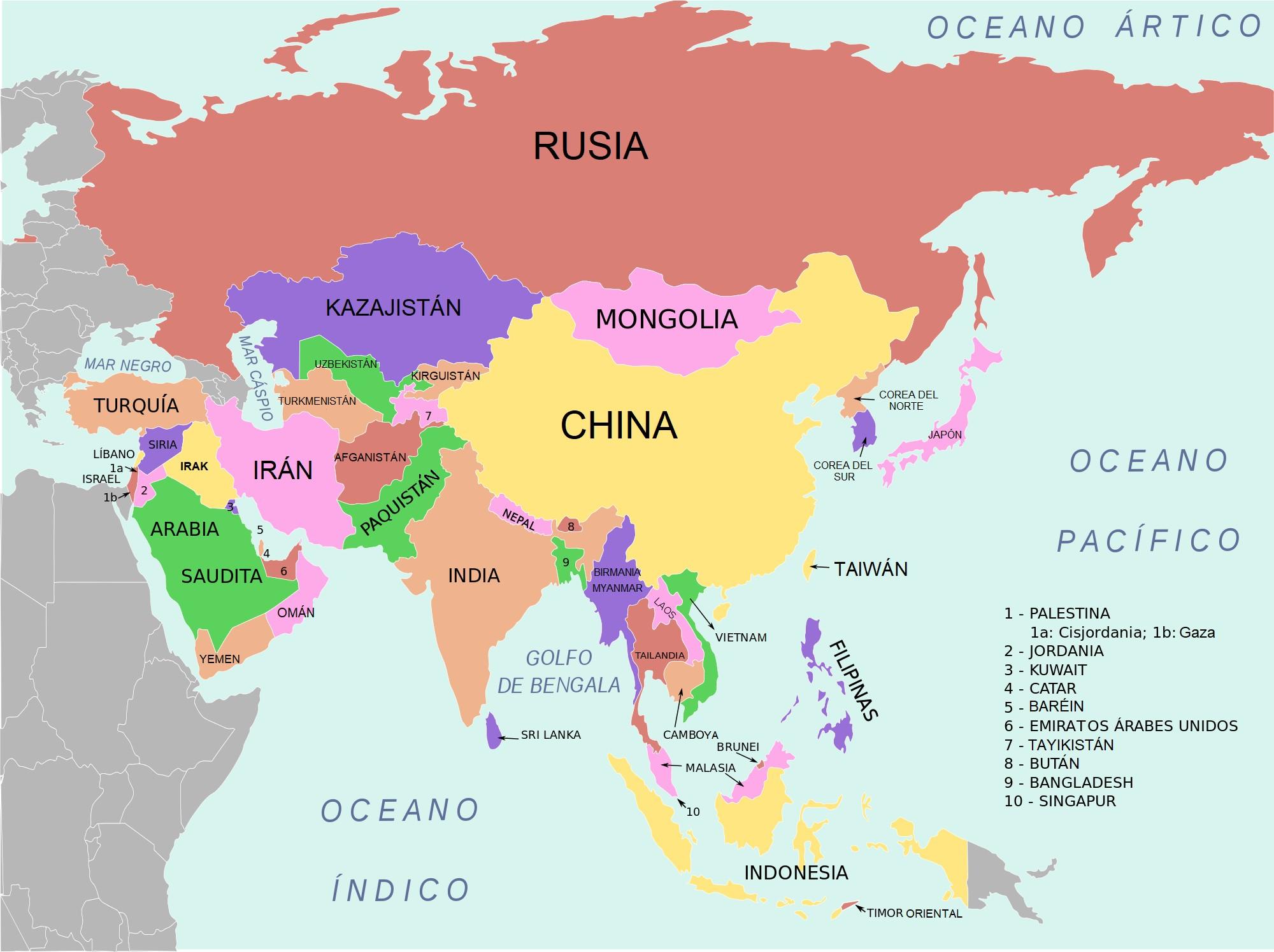 mapa asia continente