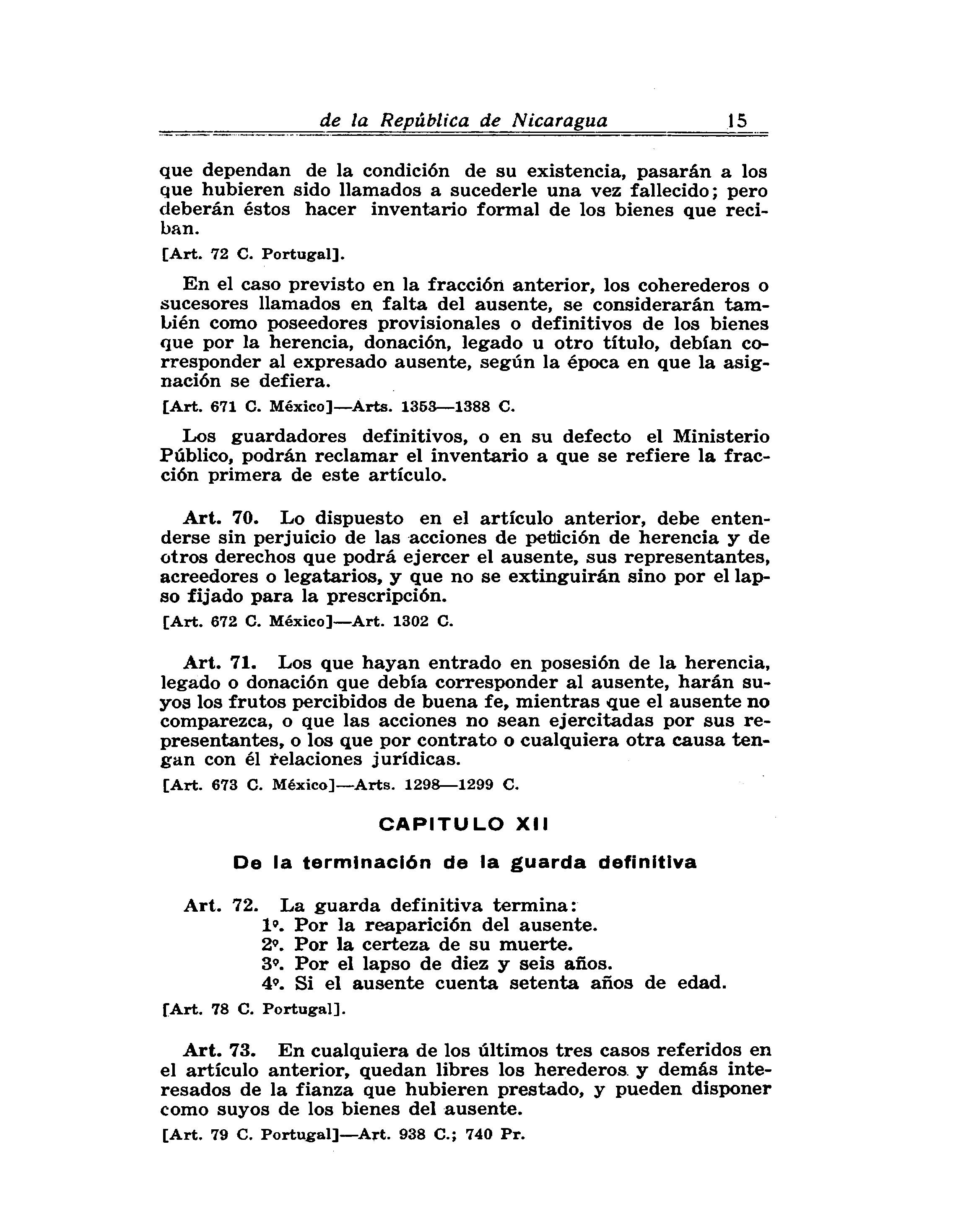de la Repºblica de Nicaragua 15 que dependan de la condici³n de su existencia pasarán