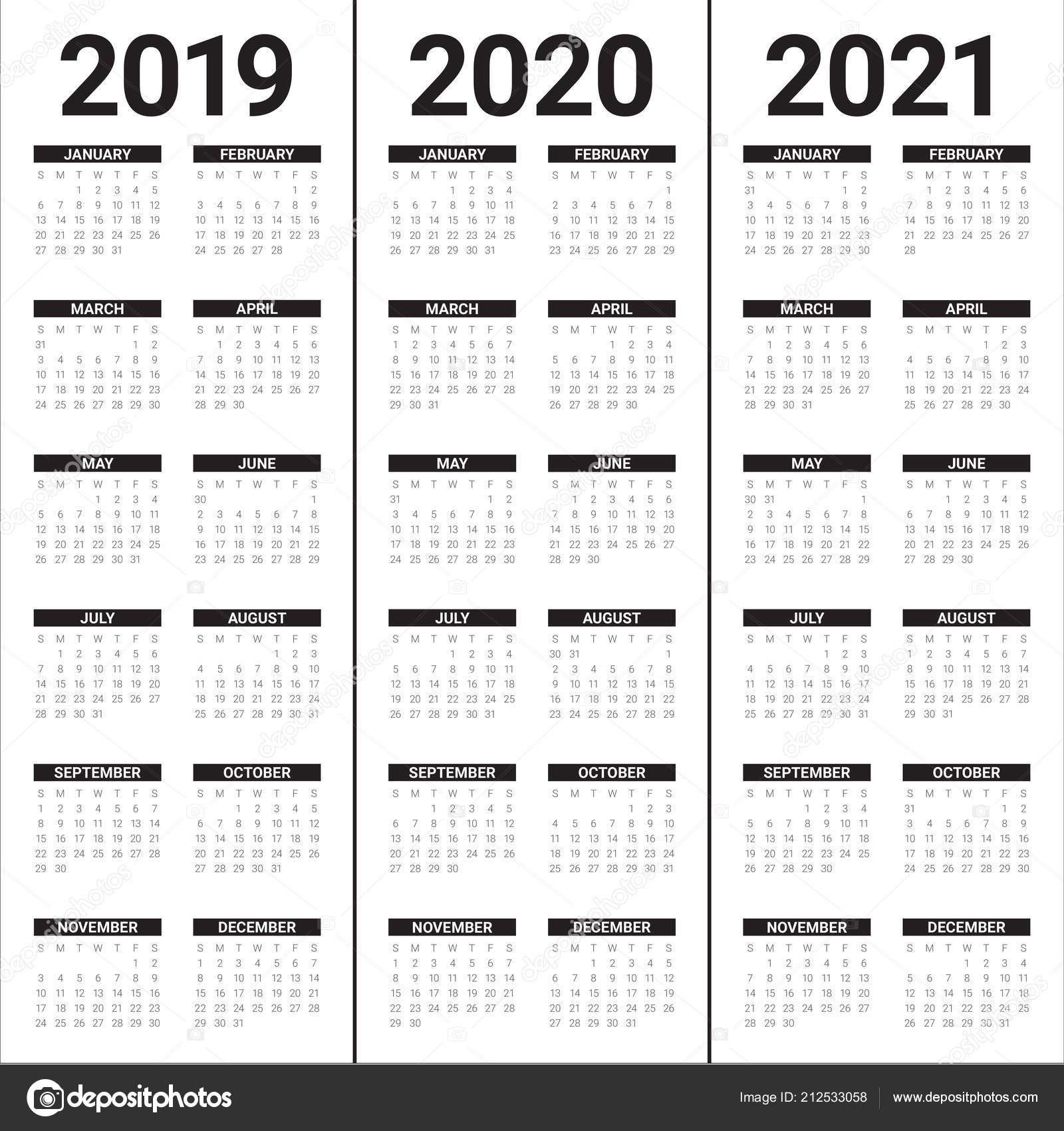 Calendario 2019 Y 2020 Vector Más Actual Roku 2019 2020 2021 Kalendář Vektorové Åablona Návrhu Jednoduch½