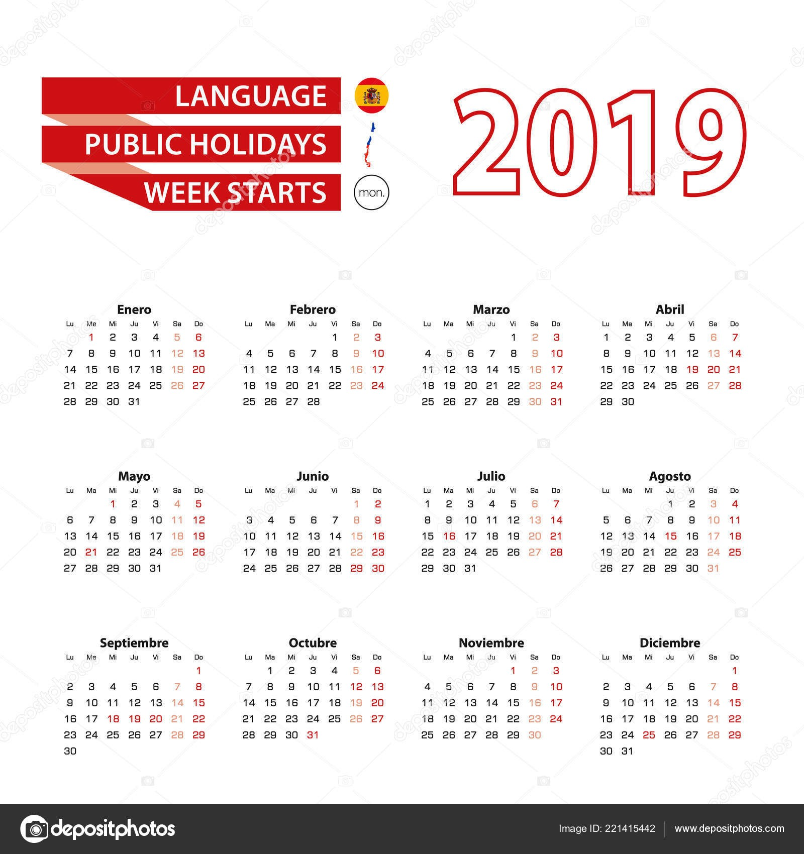 Calendar 2019 in Spanish language with public holidays the country of Chile in year 2019 Week starts from Monday Vector Illustration — Vector by boldg