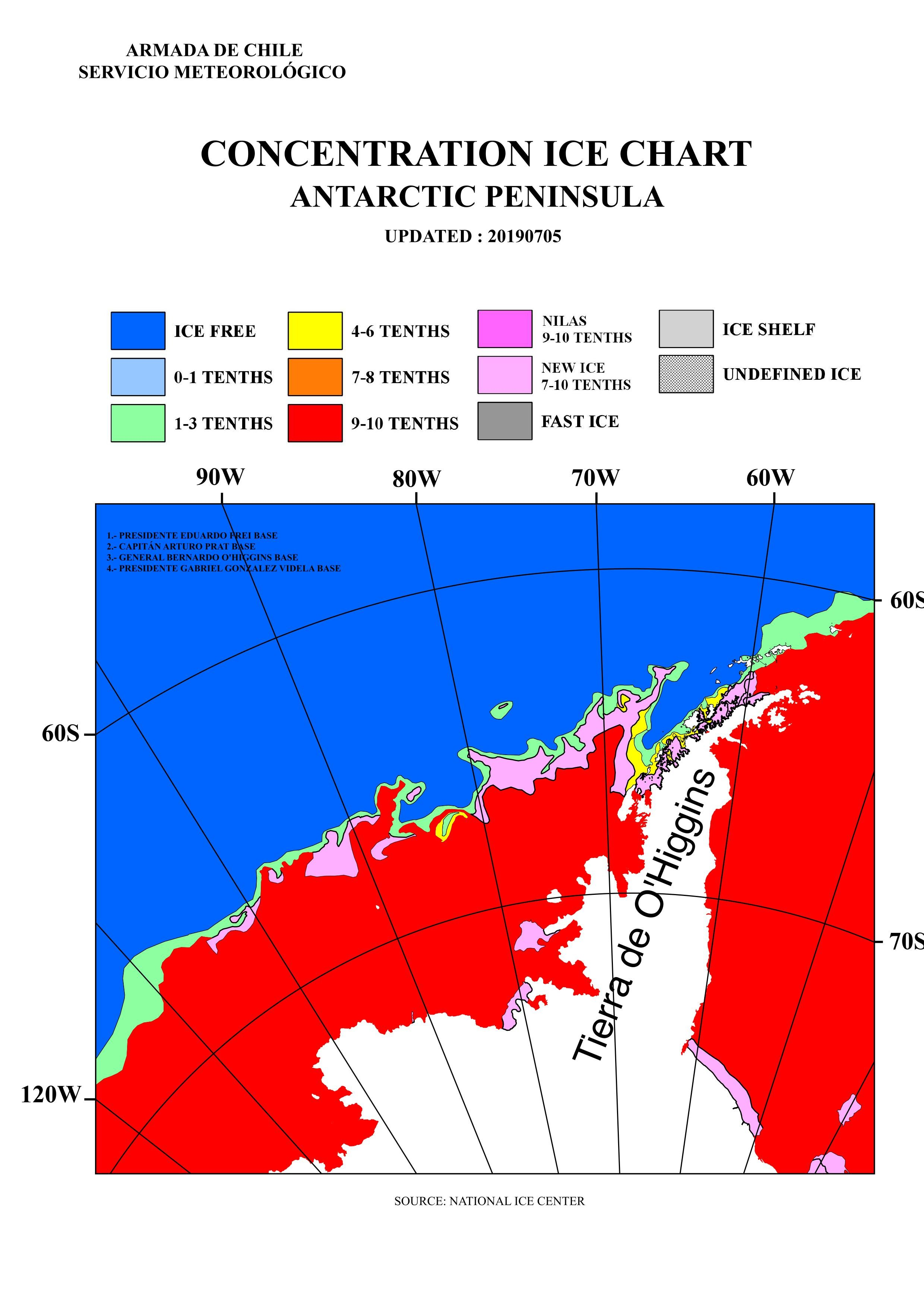 Antarctic Penninsula B&W sea ice limit chart Concentration