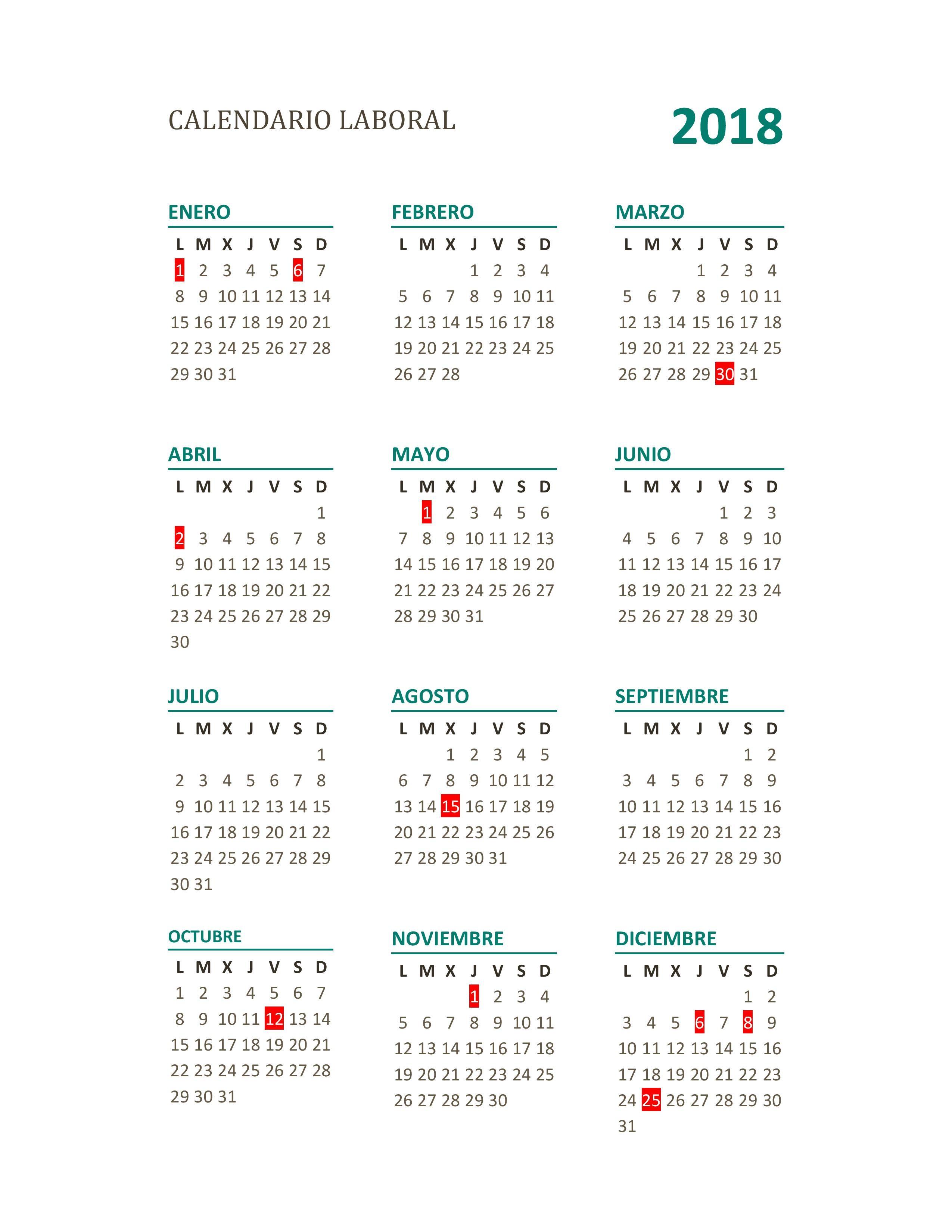 Calendario laboral 2018 pleto