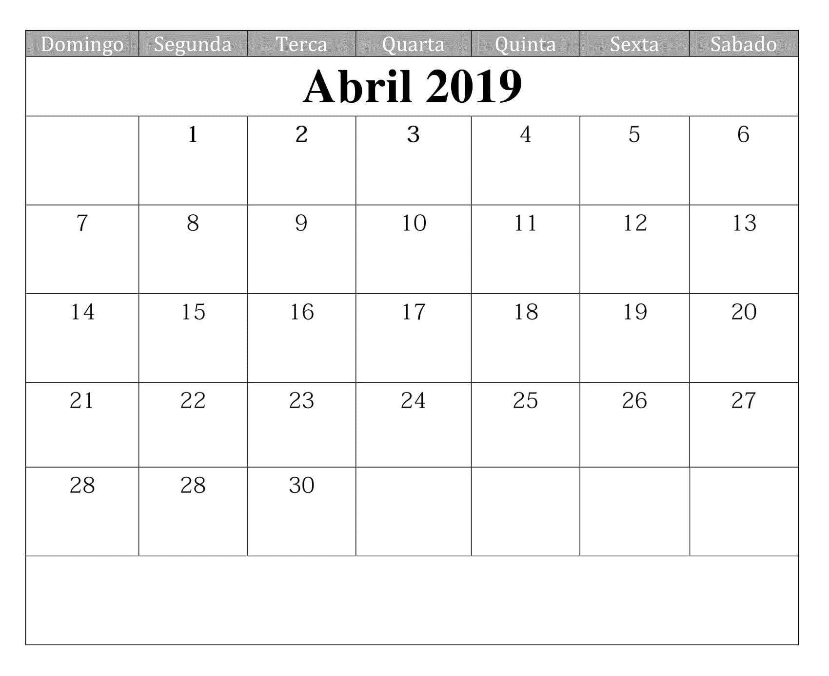 Calendario 2019 Estilos Para Imprimir Abril t