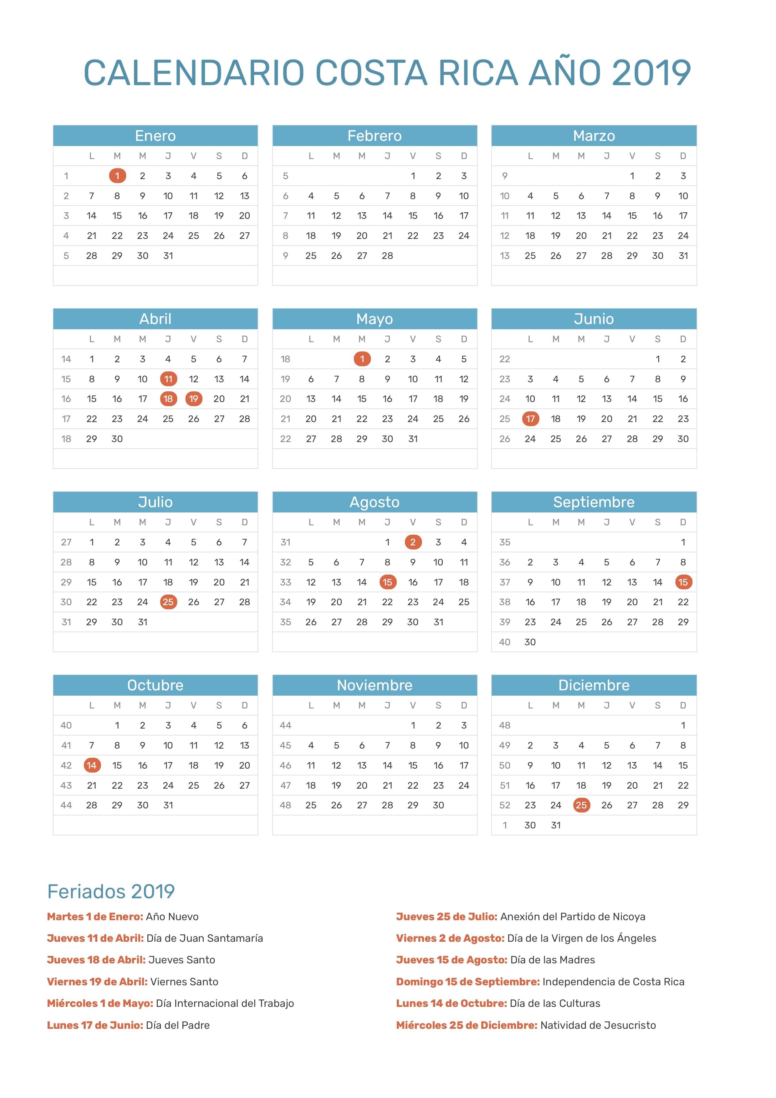 calendario costa rica 2019