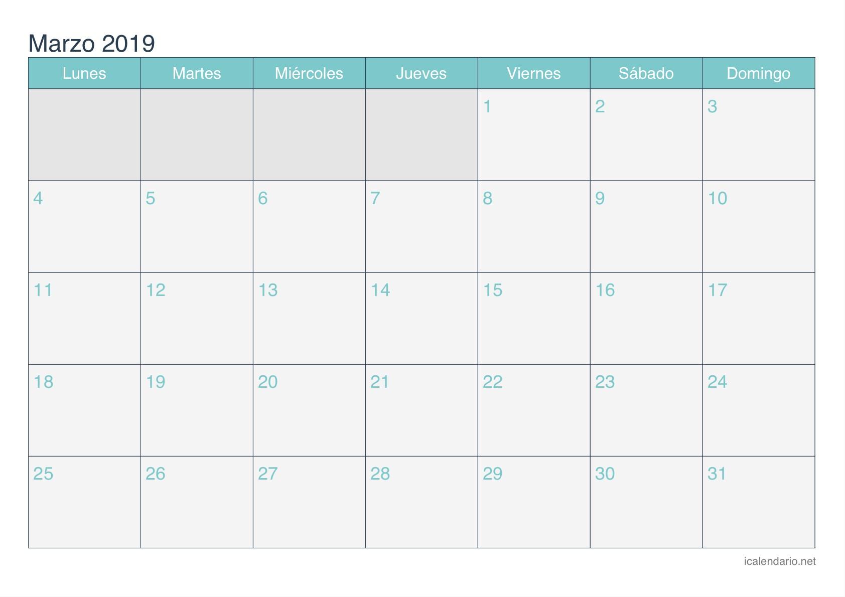 Calendario Escolar 2019 2020 Más Recientes Mes Marzo