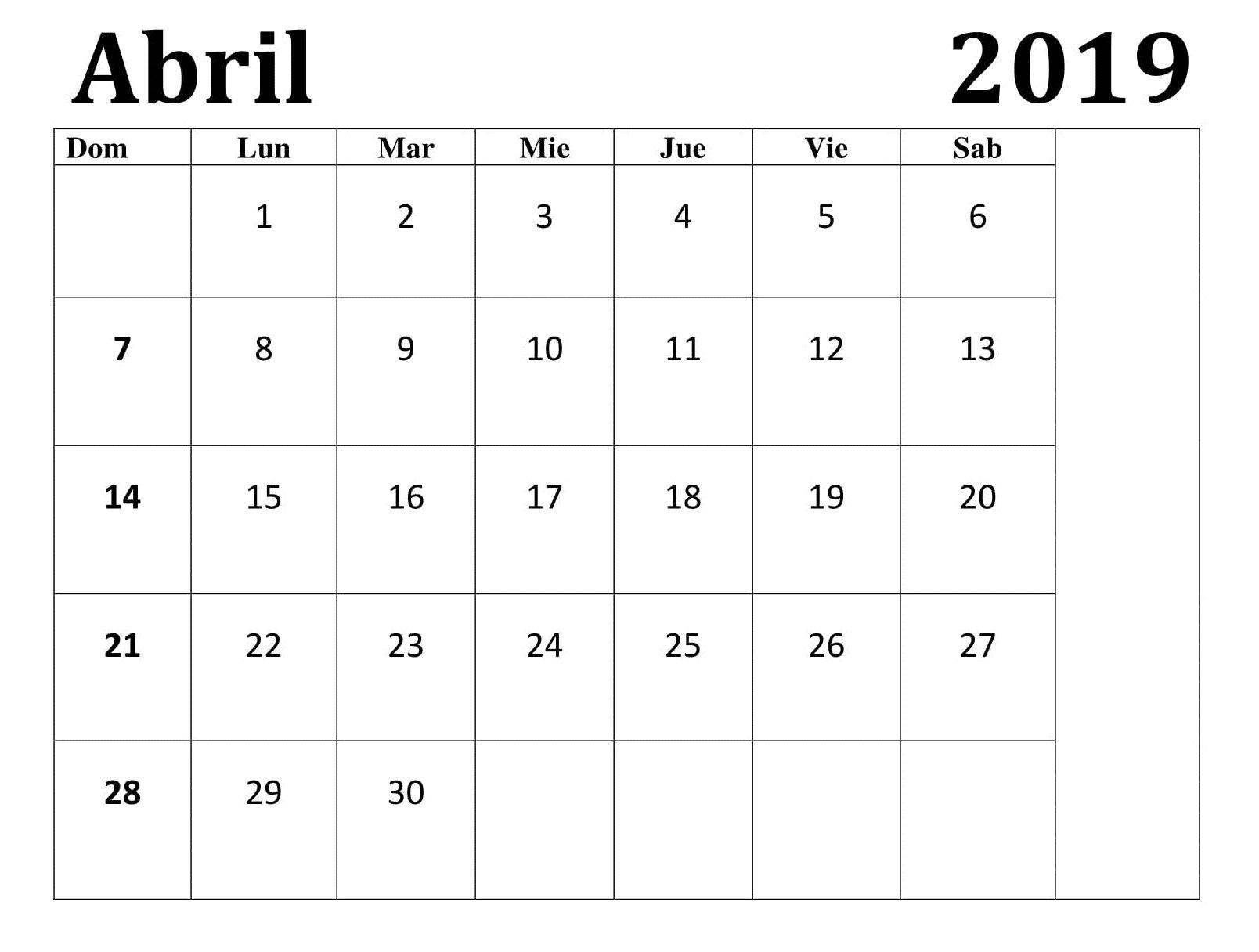 Mes Calendario Abril 2019 Con Festivos t