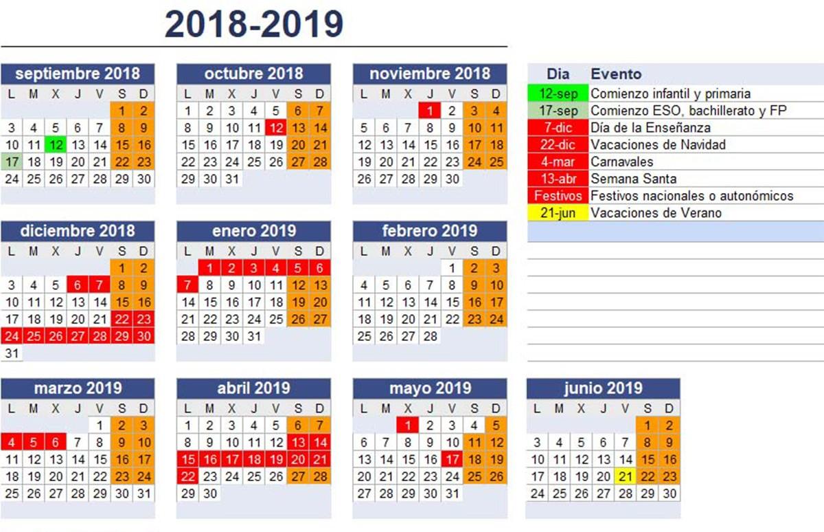 calendario curso 2018 2019