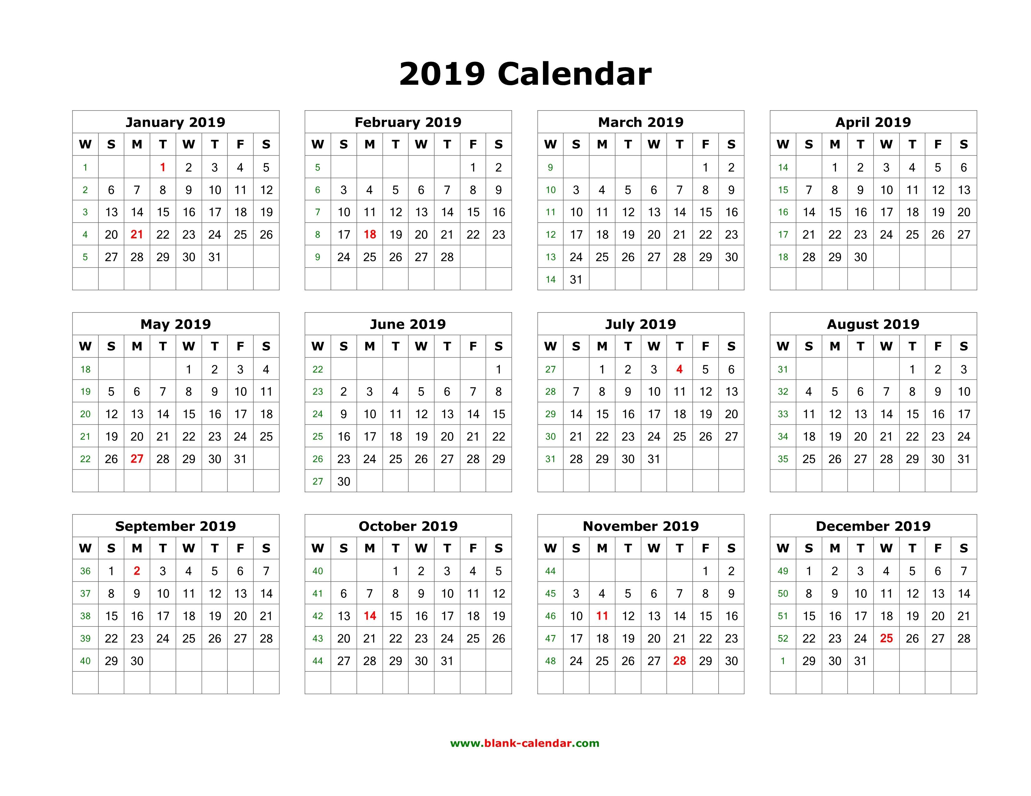 Adobe Calendar Template 2019 Download Blank Calendar 2019 12 Months e Page