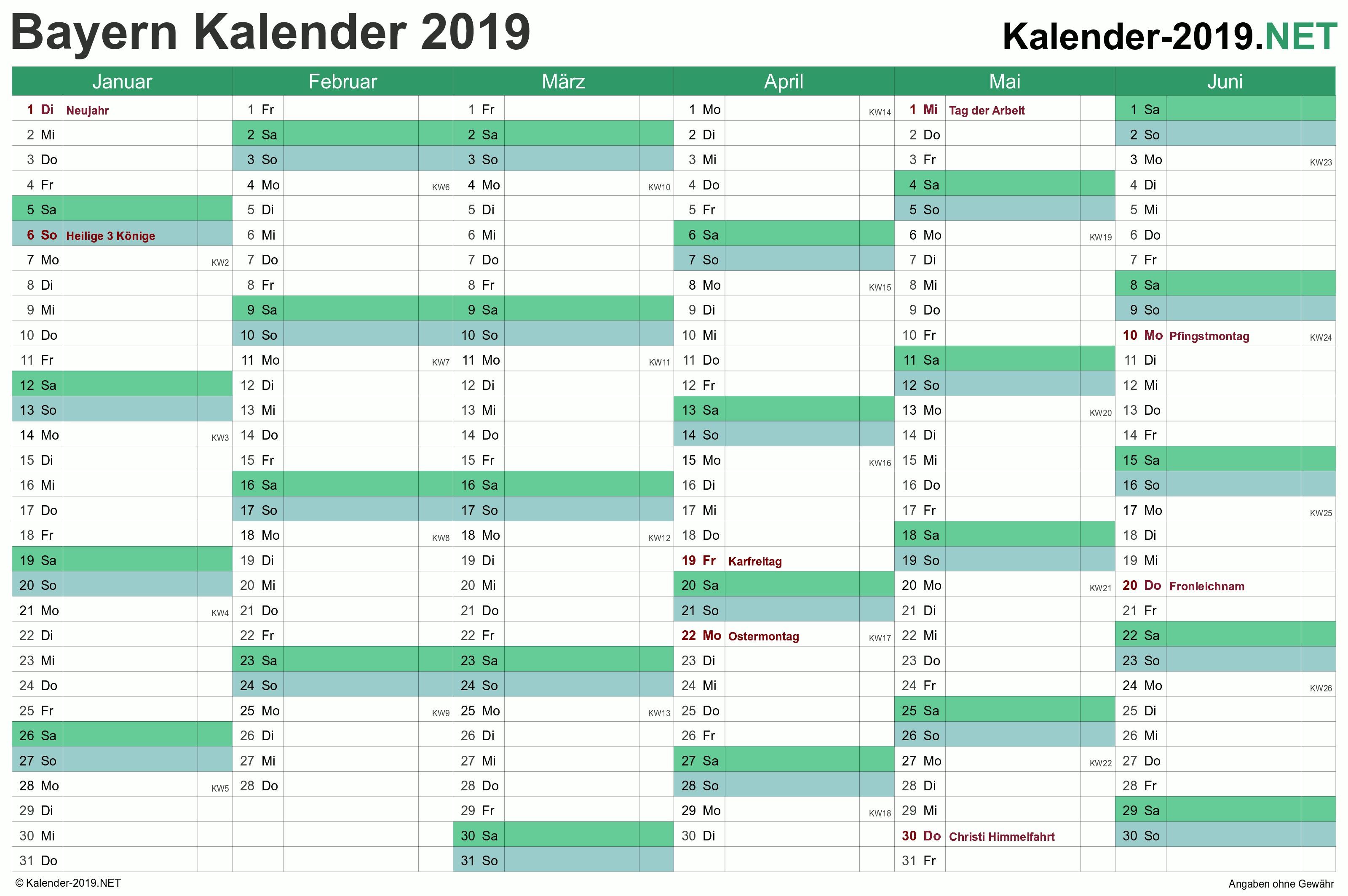 Kalender 2019 Excel Template Más Populares Bayern Kalender 2019 Mit Feiertagen