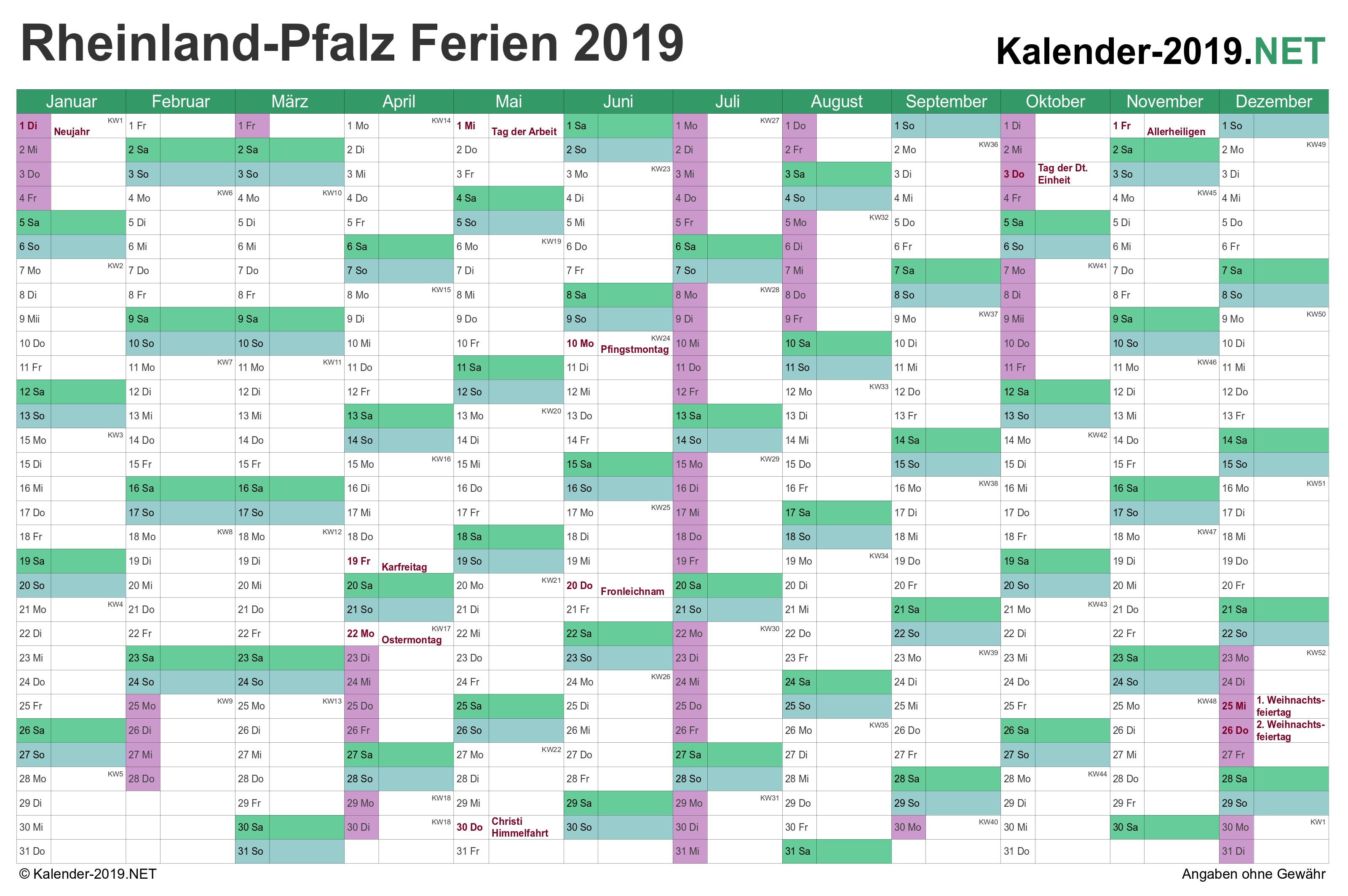Kalender 2019 Mit Ferien Sachsen Pdf Recientes Jahreskalender Rheinland Pfalz 2019 Mit Ferien