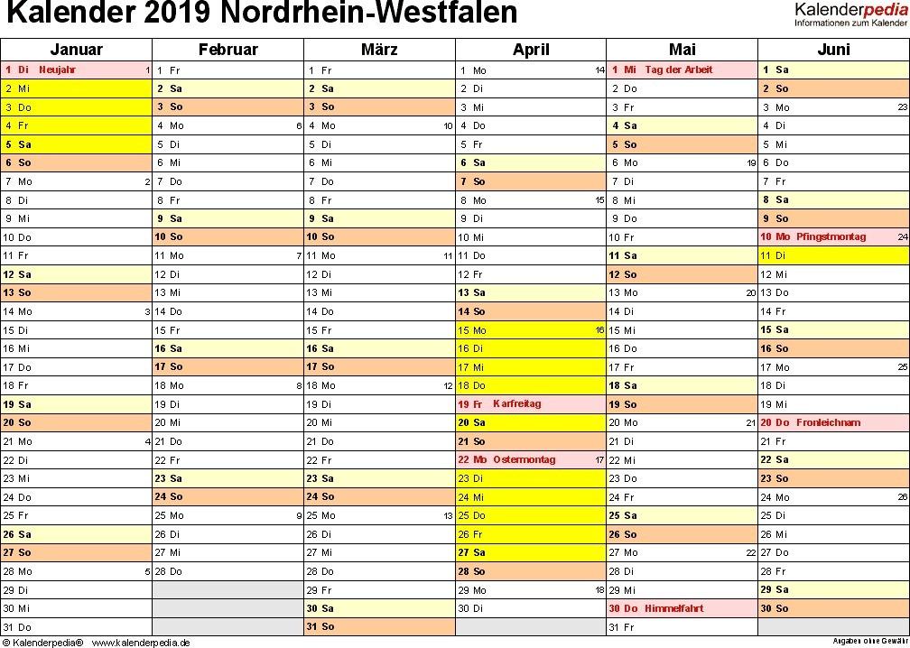 ferien nordrhein westfalen 2019 ferienkalender ubersicht kalender nrw mit feiertagen und ferien