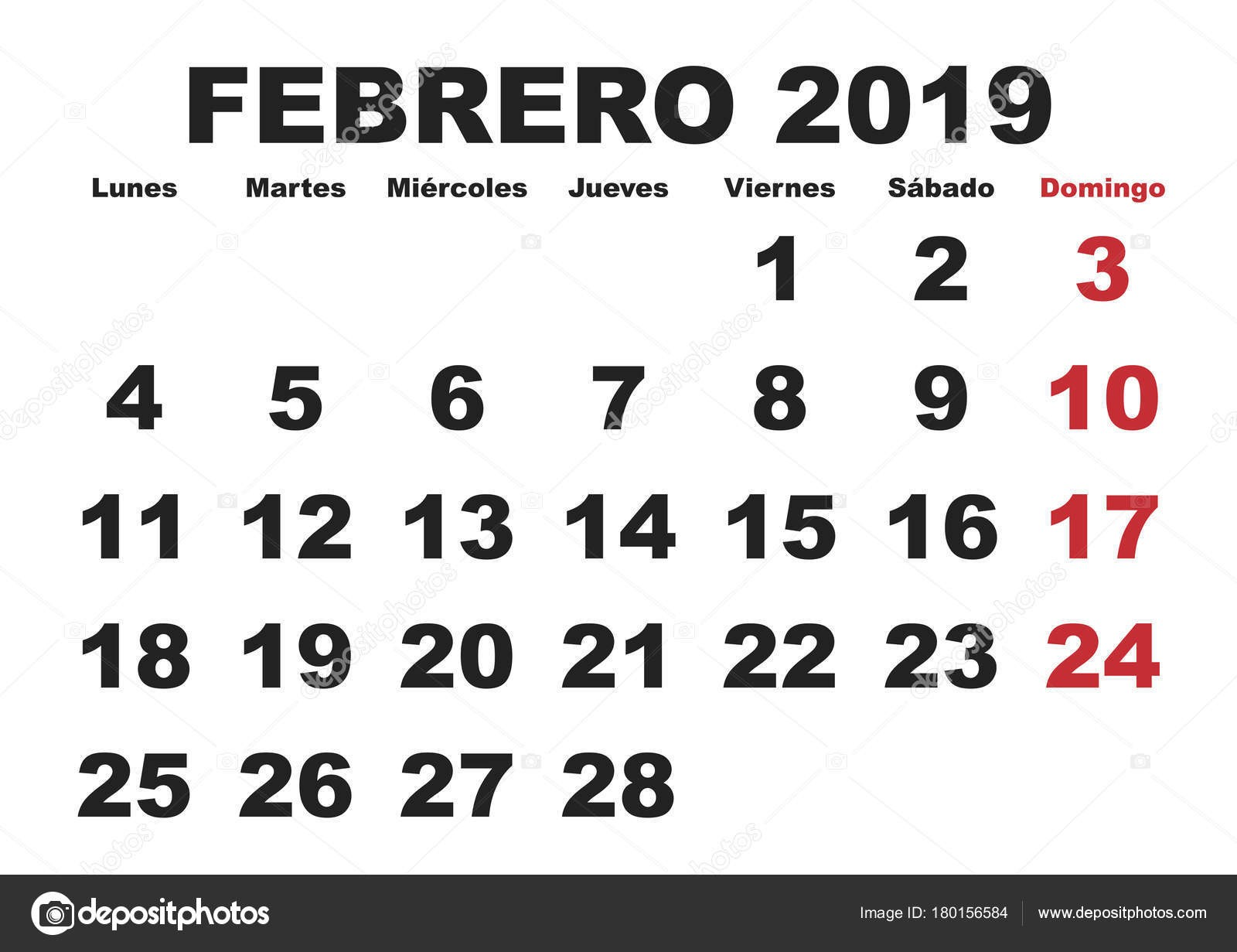 Miesiąc Luty w Kalendarz ścienny roku 2019 w języku hiszpańskim Febrero 2019 Calendario 2019 — Wektor od