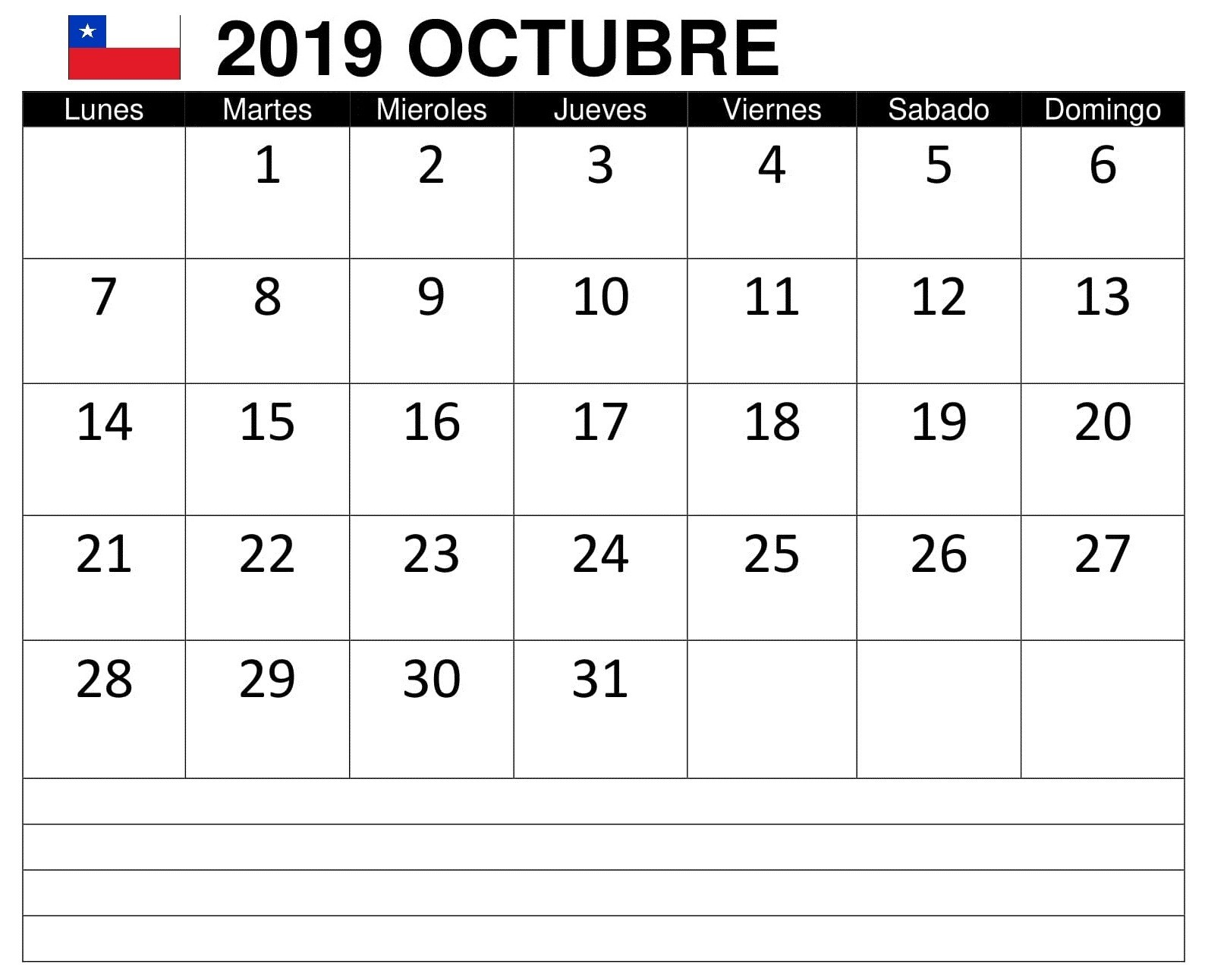 Calendario Octubre 2019 Chile Negocios