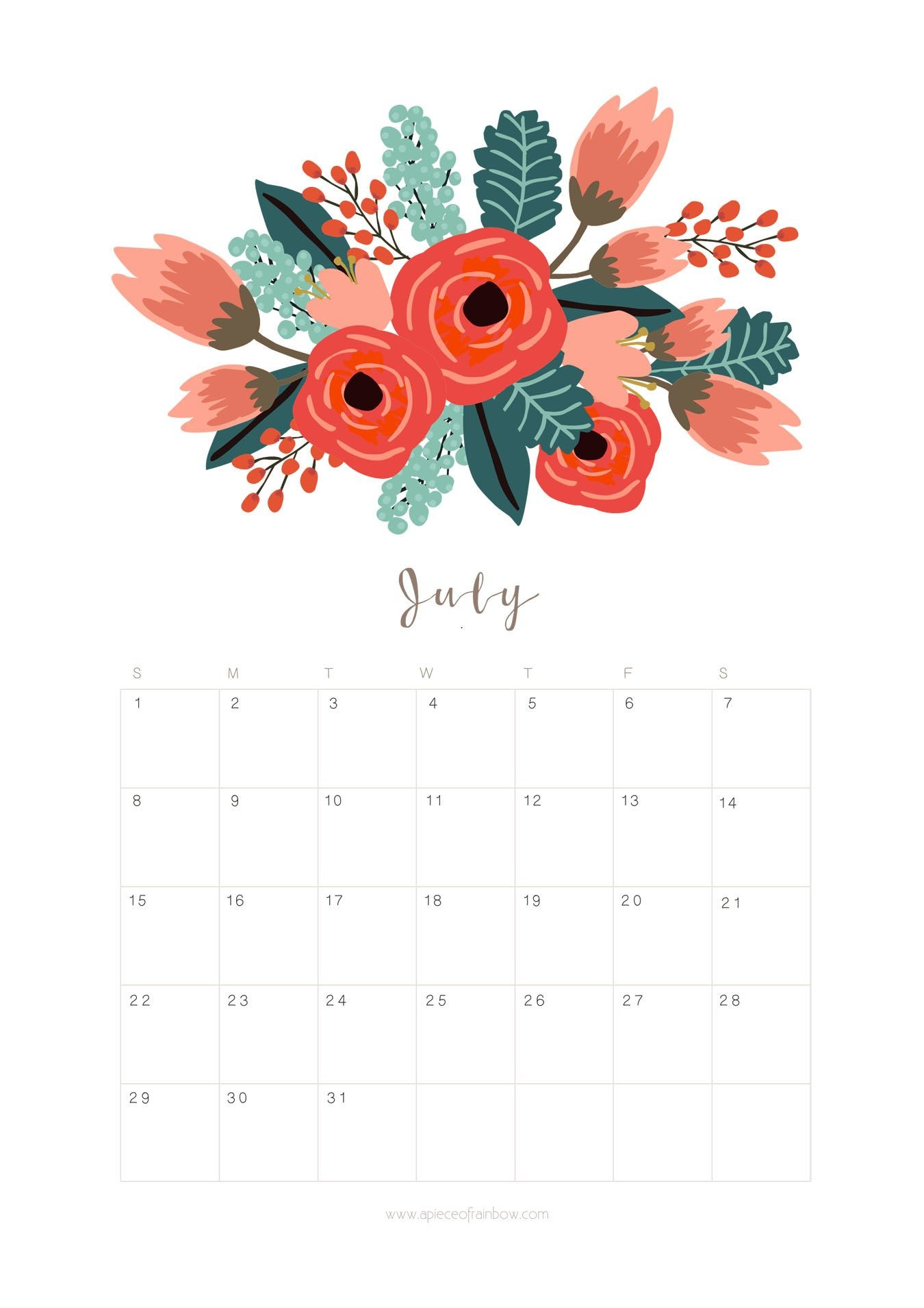 Printable Calendars for a More Floral 2019 kw Calendrio julho