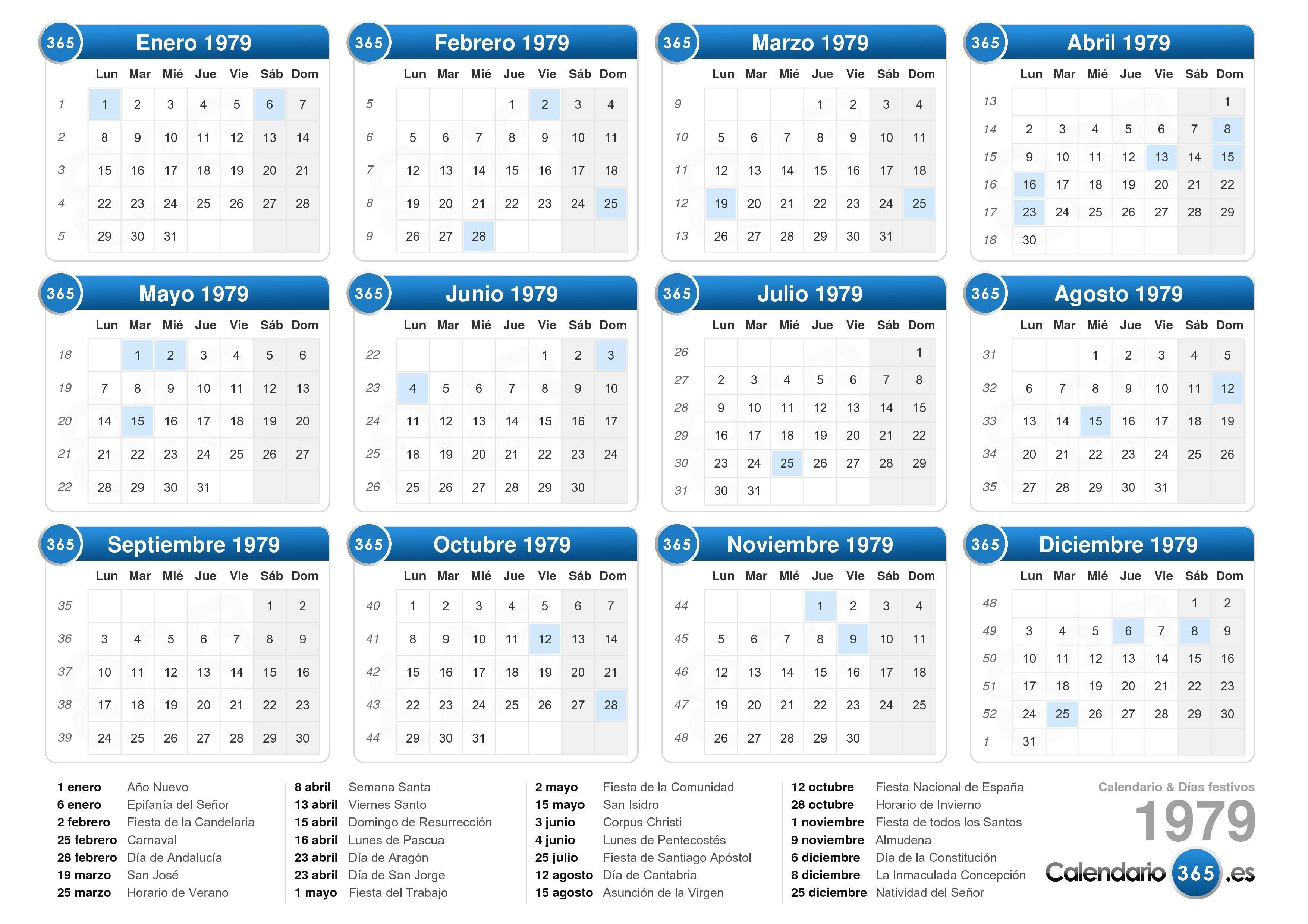 calendario 1979