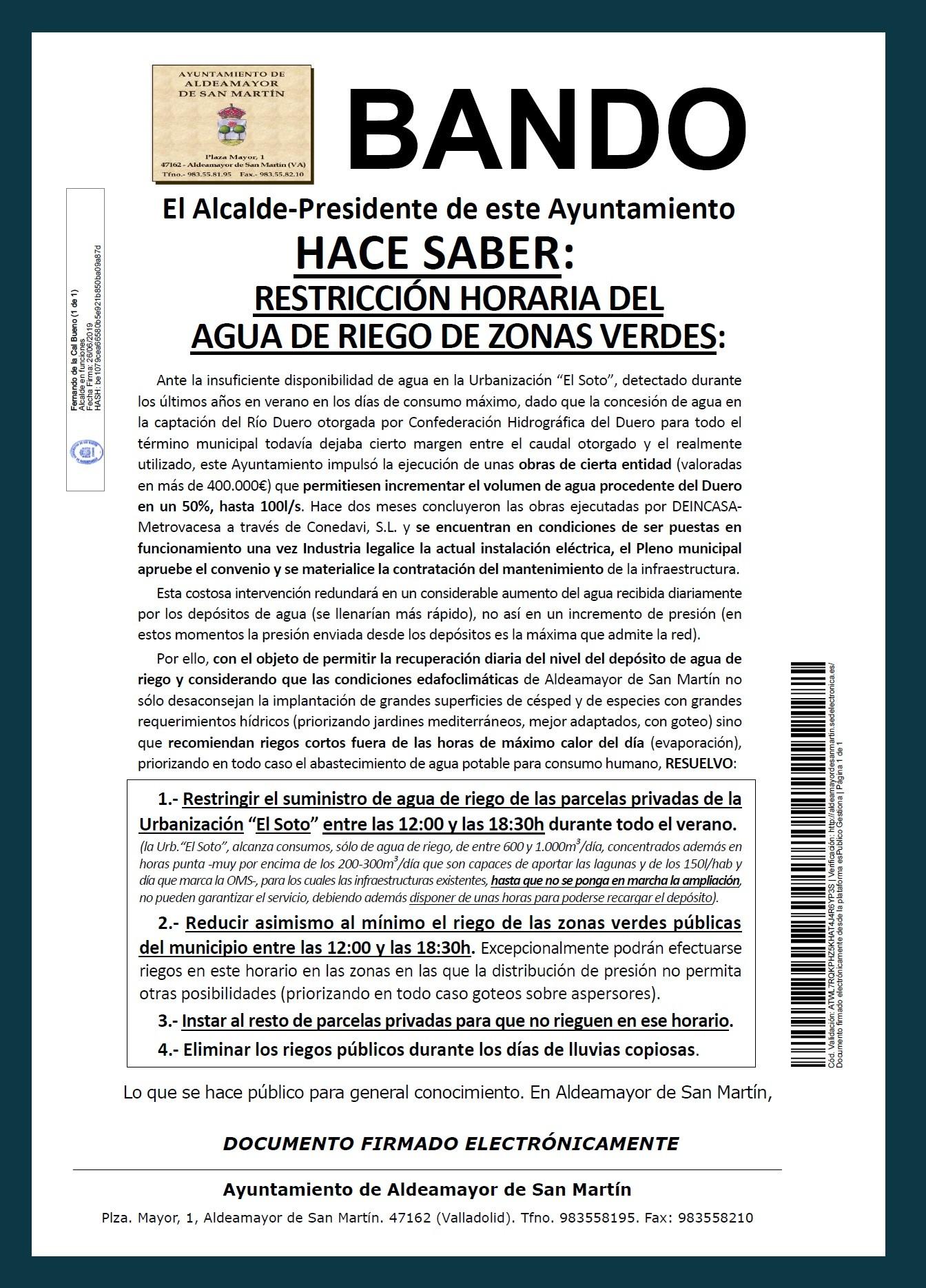 Bando restriccion agua riego Urb El Soto 2019