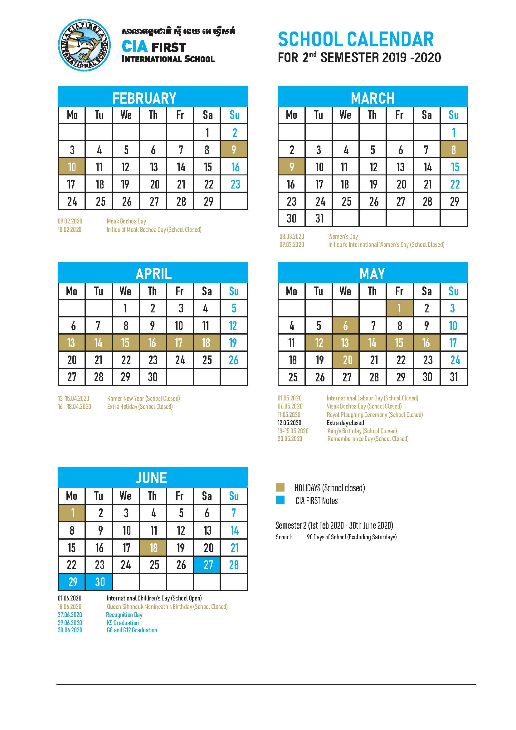 calendar 2nd semester 19 20 PNG