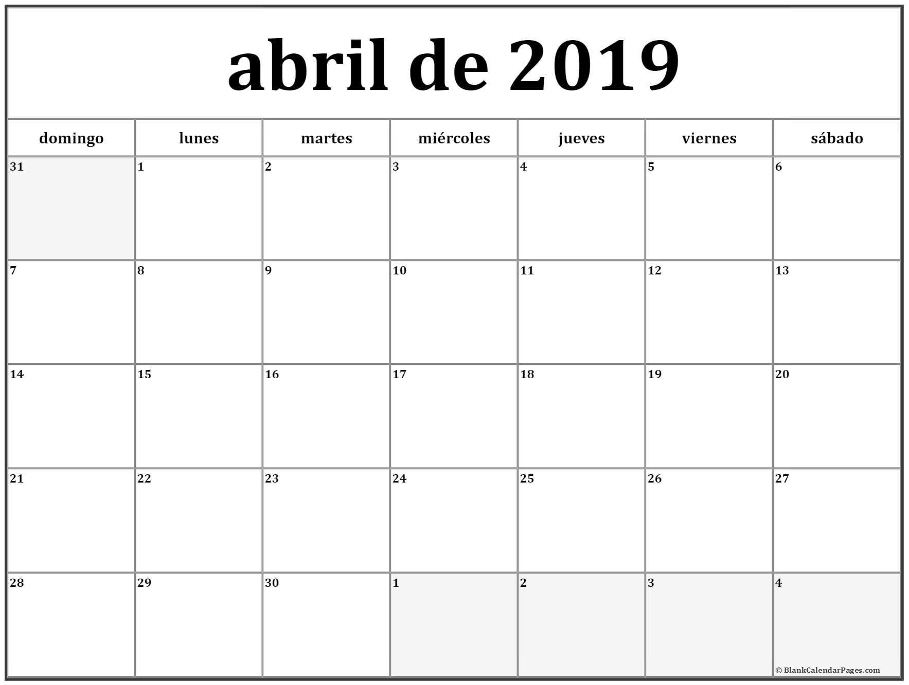 Calendario Abril 2019 Excel 4