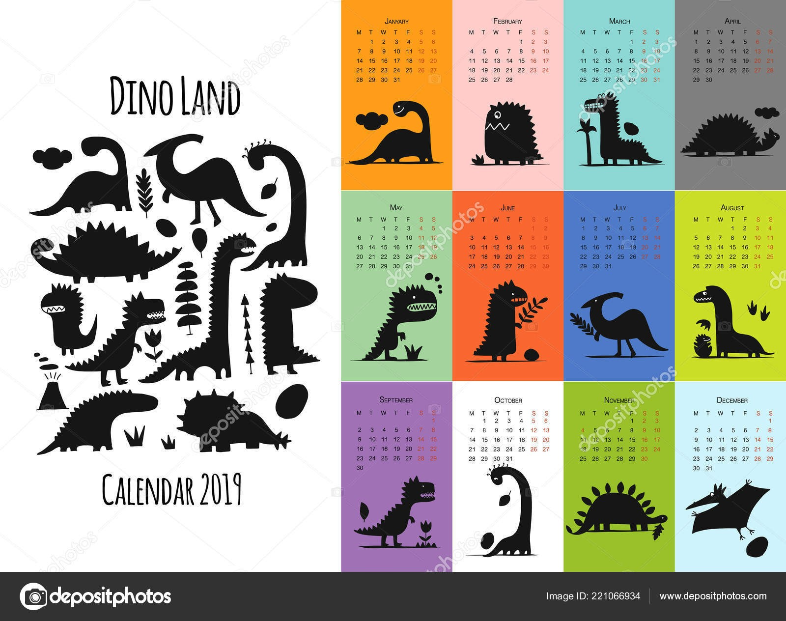 depositphotos stock illustration dinosaurs calendar 2019 design