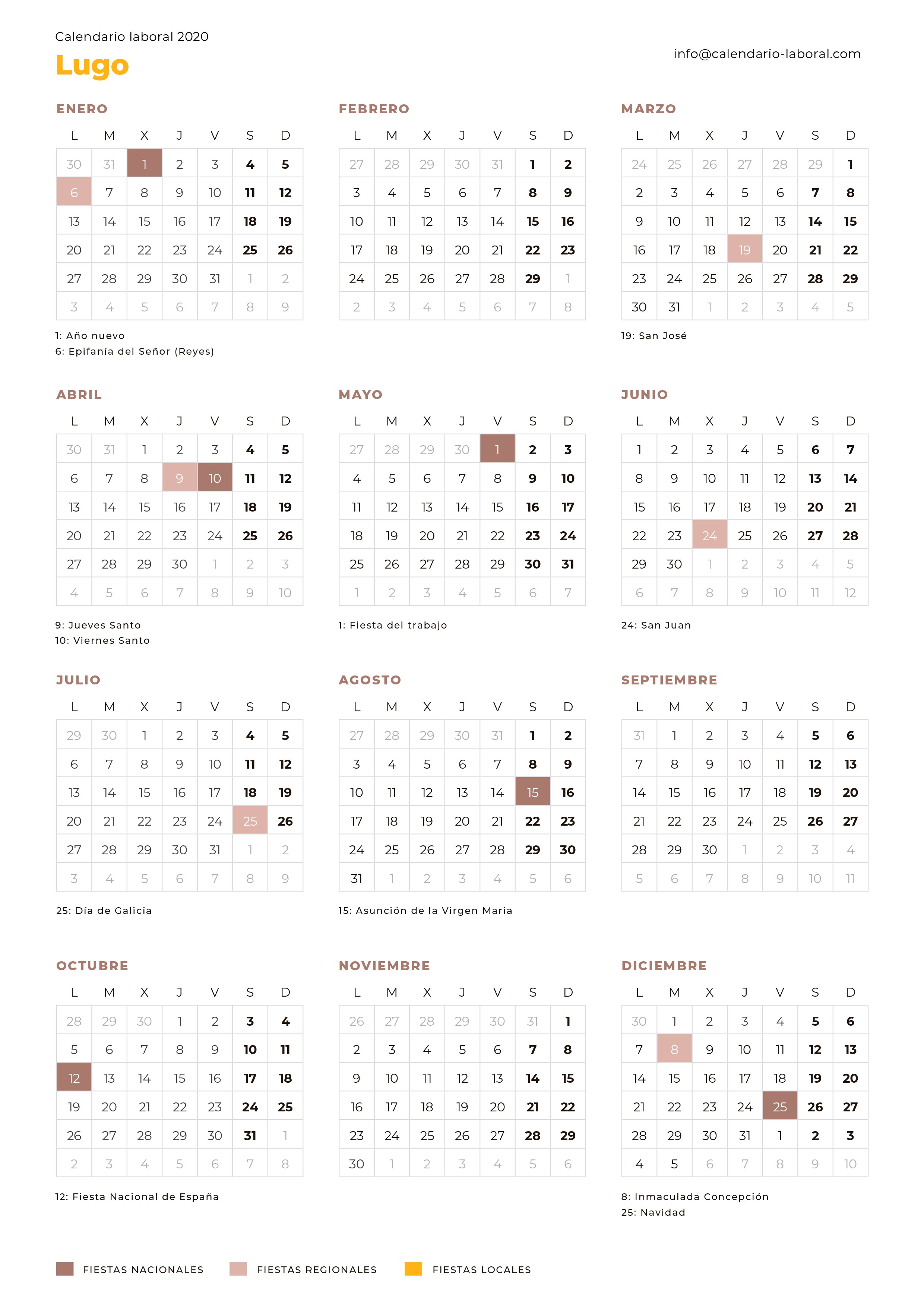 calendario laboral lugo 2020