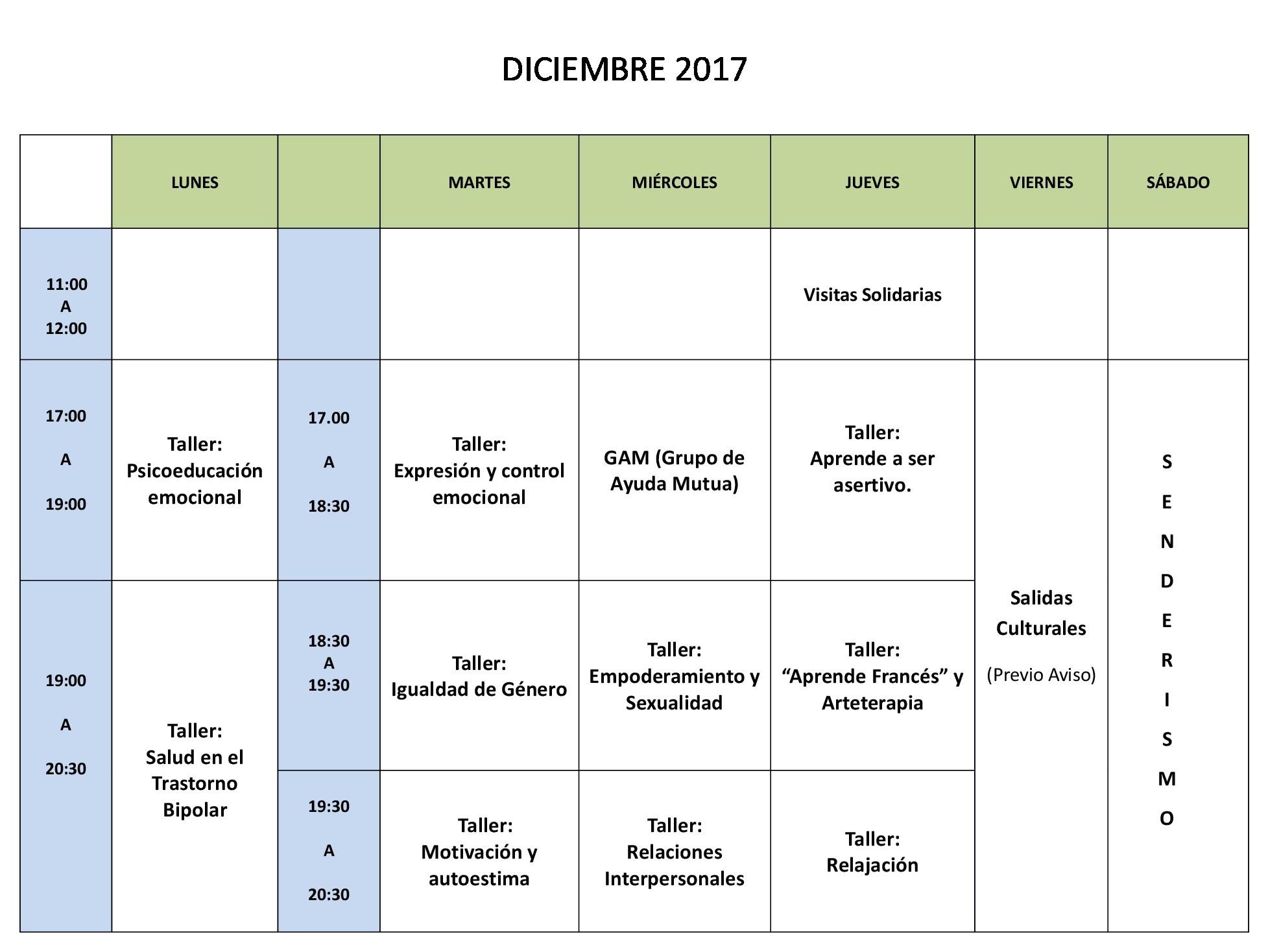 Calendario diciembre sin nombres
