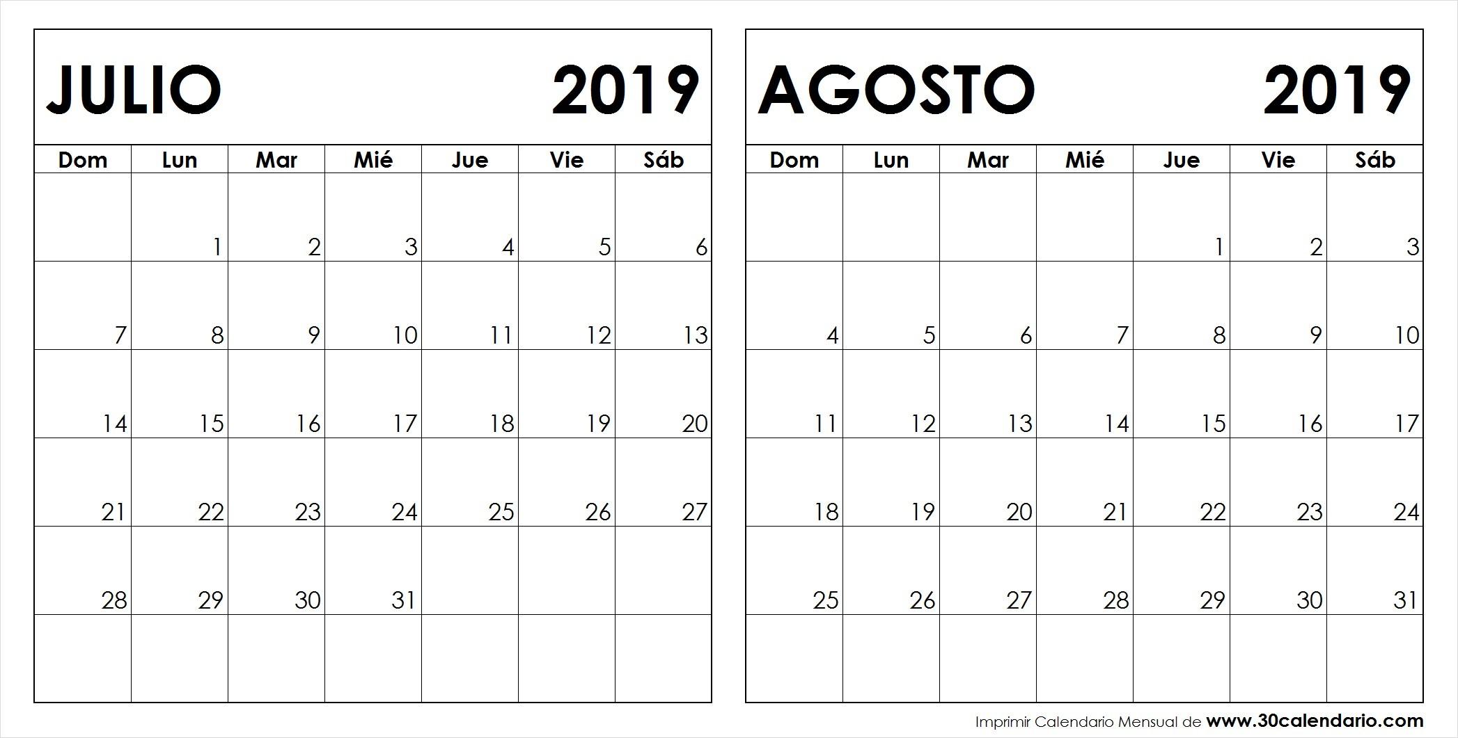 Calendario Julio Agosto 2019 Para Imprimir