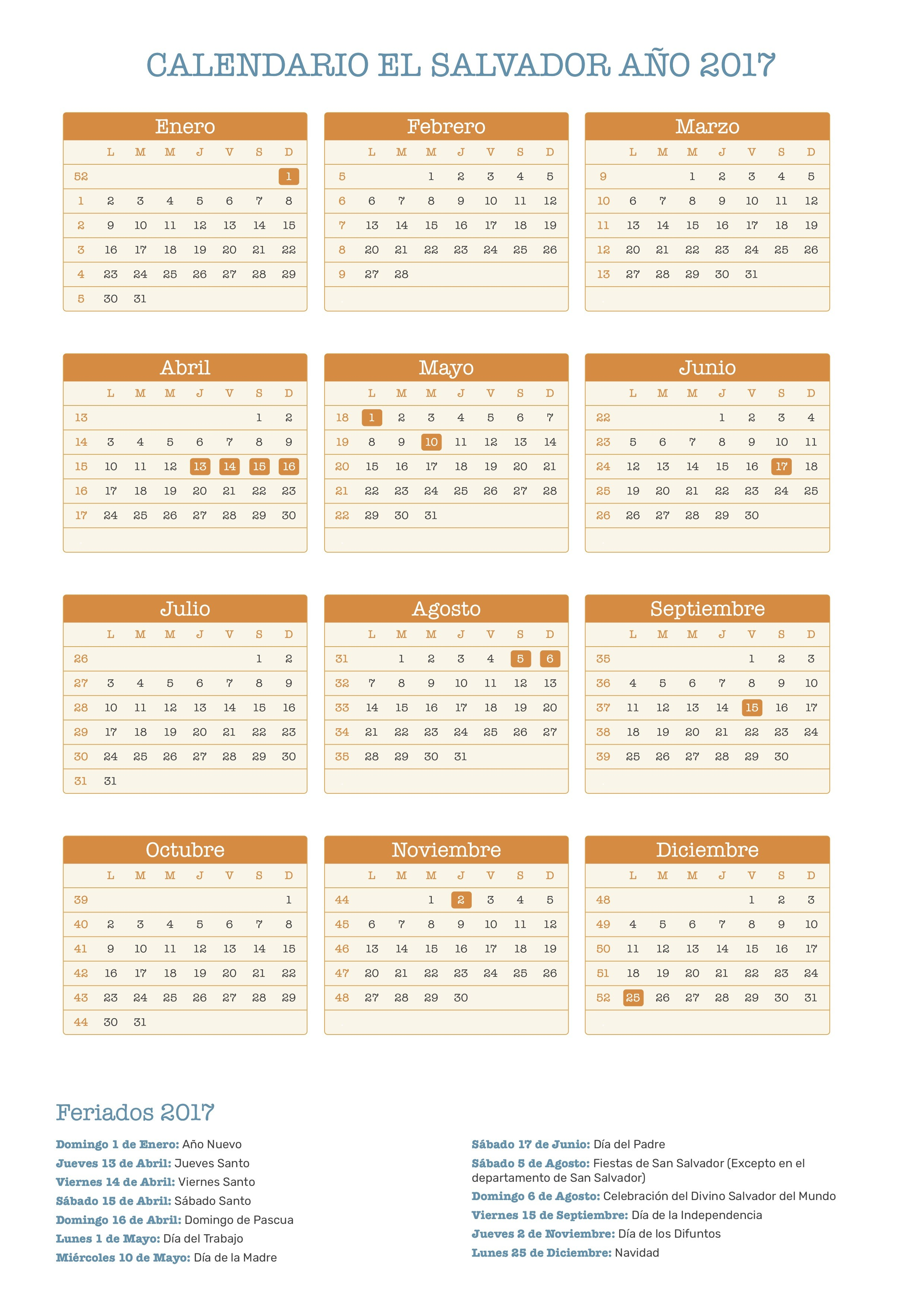 Calendario El Salvador 2017