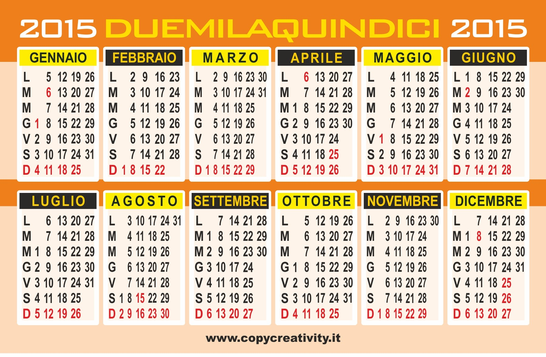 calendario 2015 annuale a