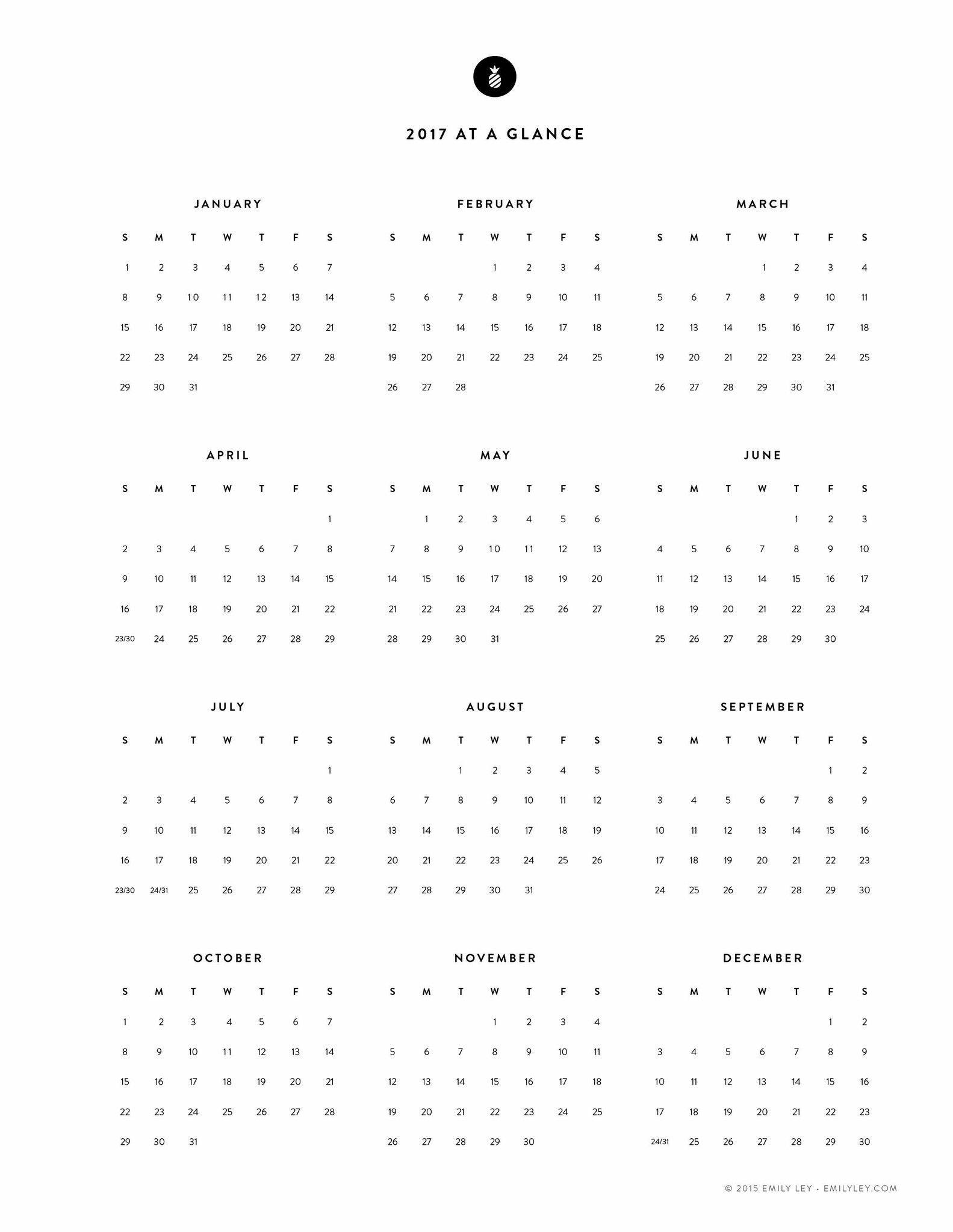 Calendario Lunar Zodiaco 2019 Más Recientes Free Printable 2017 Yearly Calendar – Emily Ley Of Calendario Lunar Zodiaco 2019 Más Recientes V 2019 02 13 S