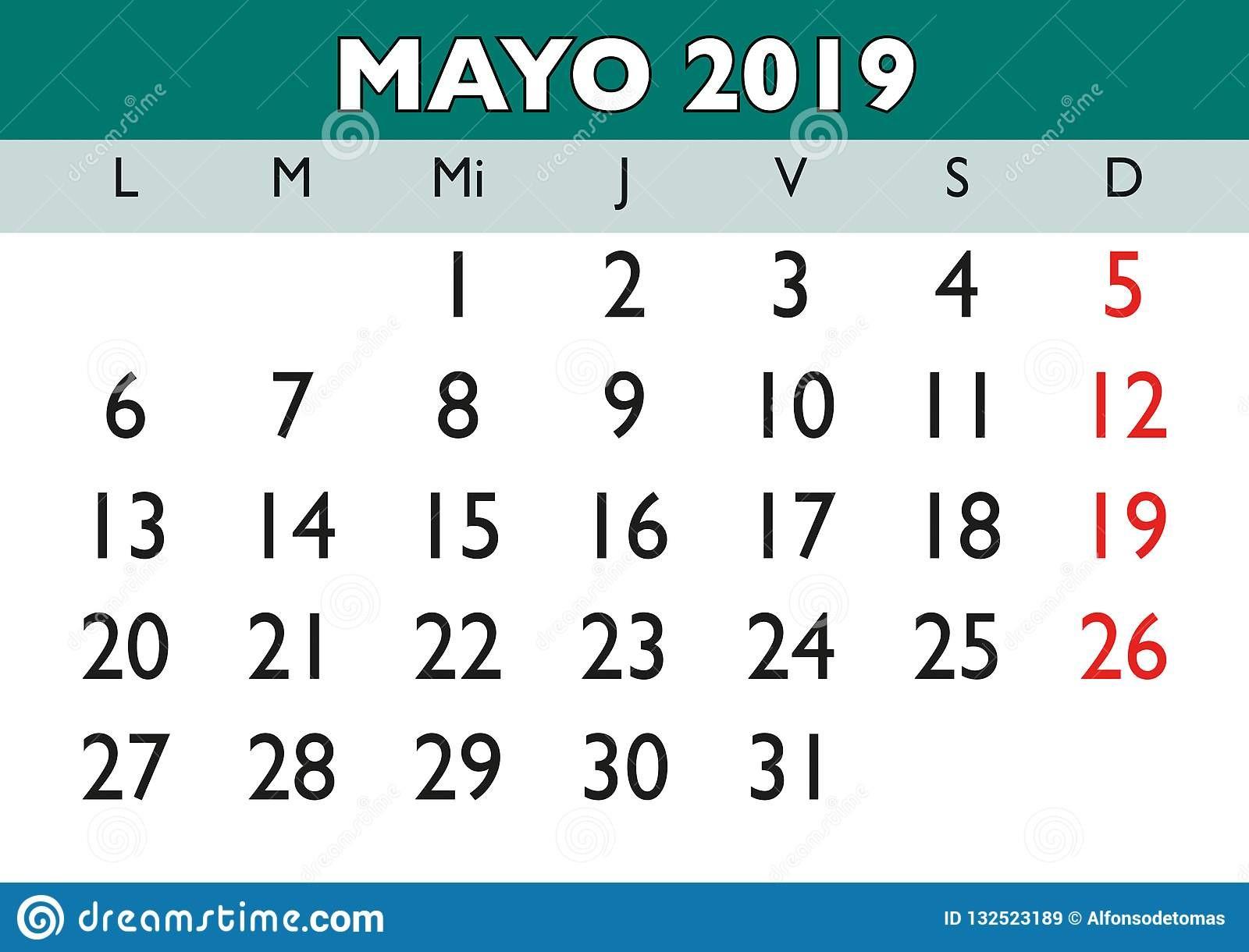 may wall calendar spanish month year mayo calendario