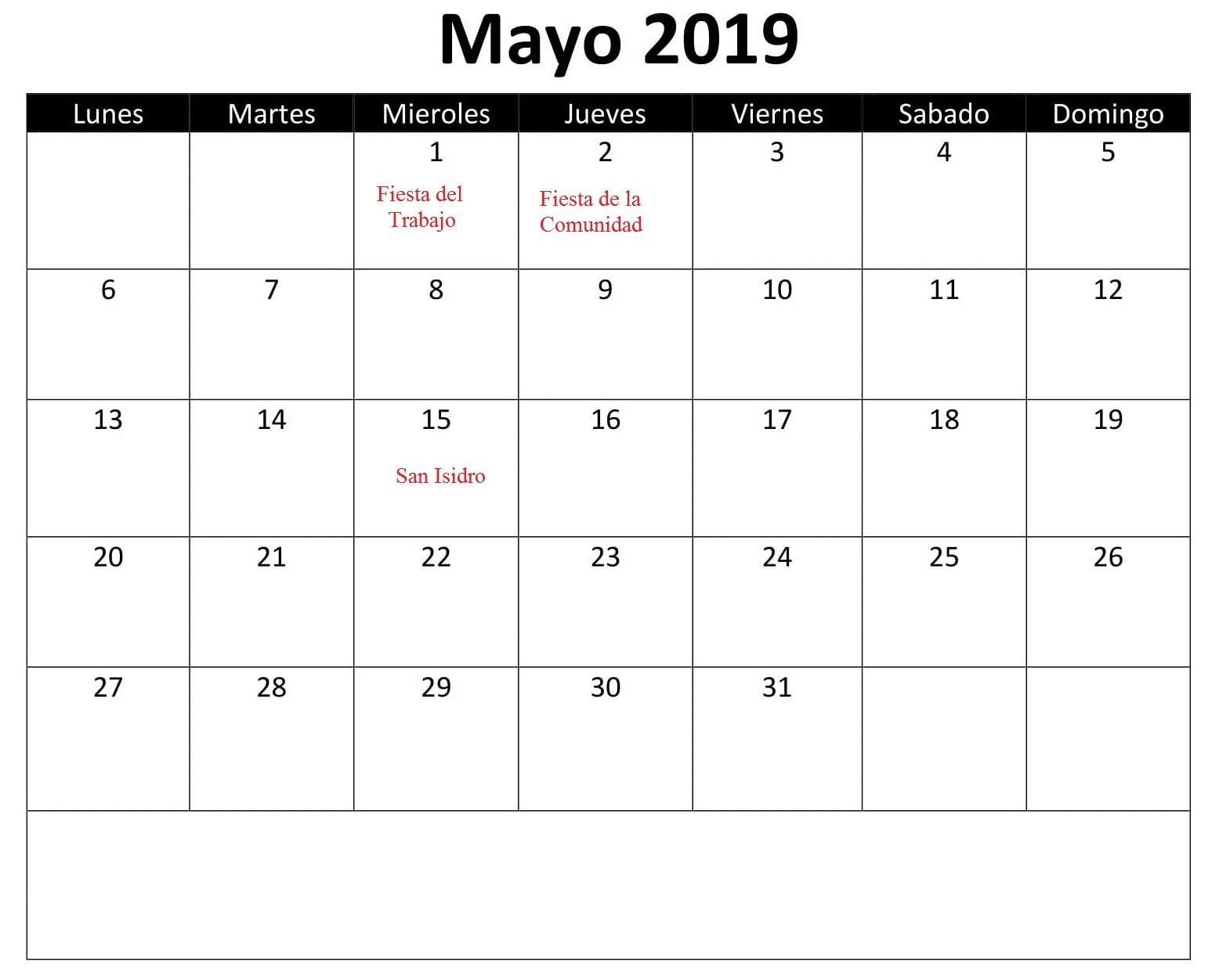 Calendario Mayo 2019 Con Festivos Excel