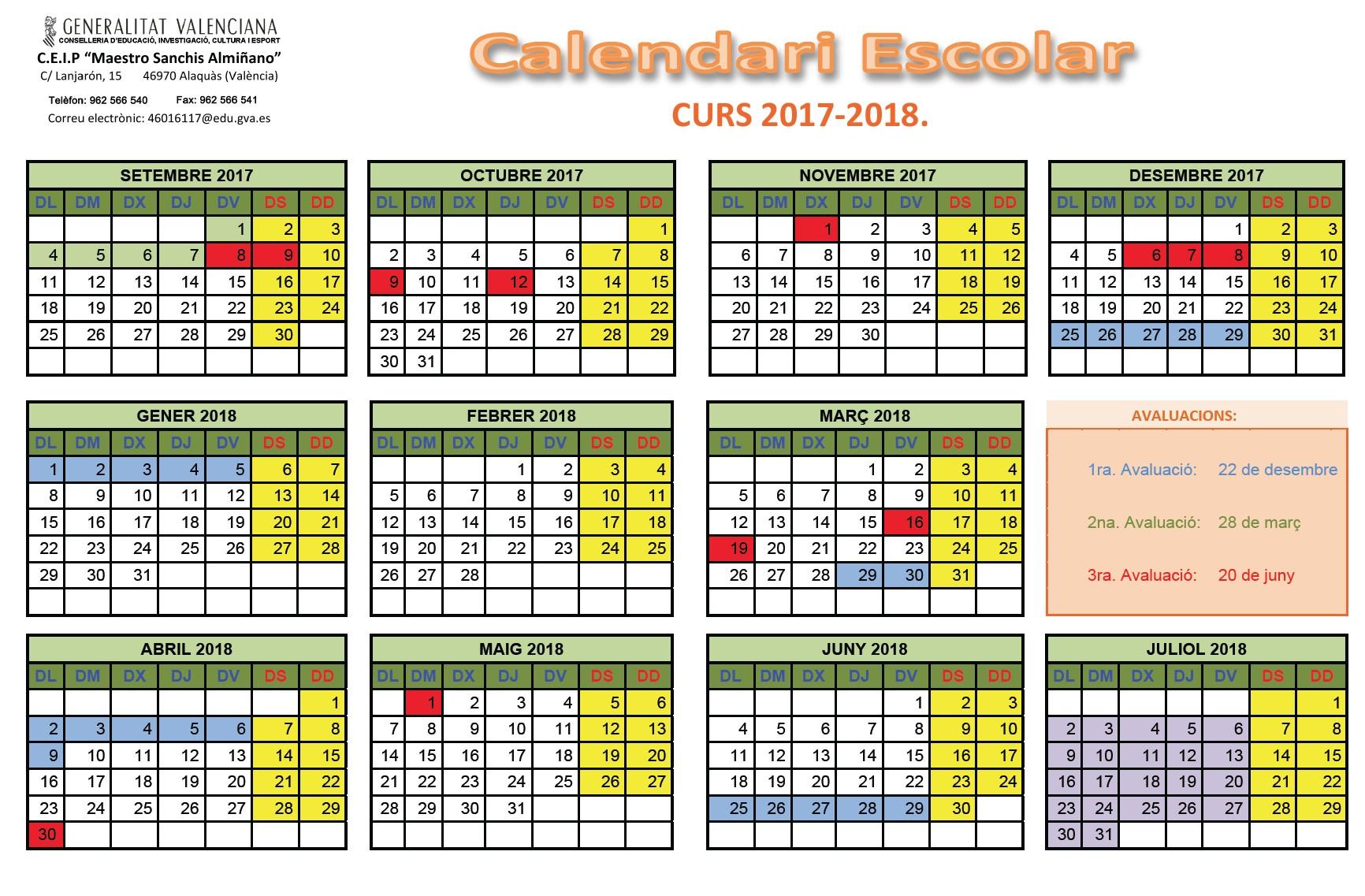 Calendari 17 18