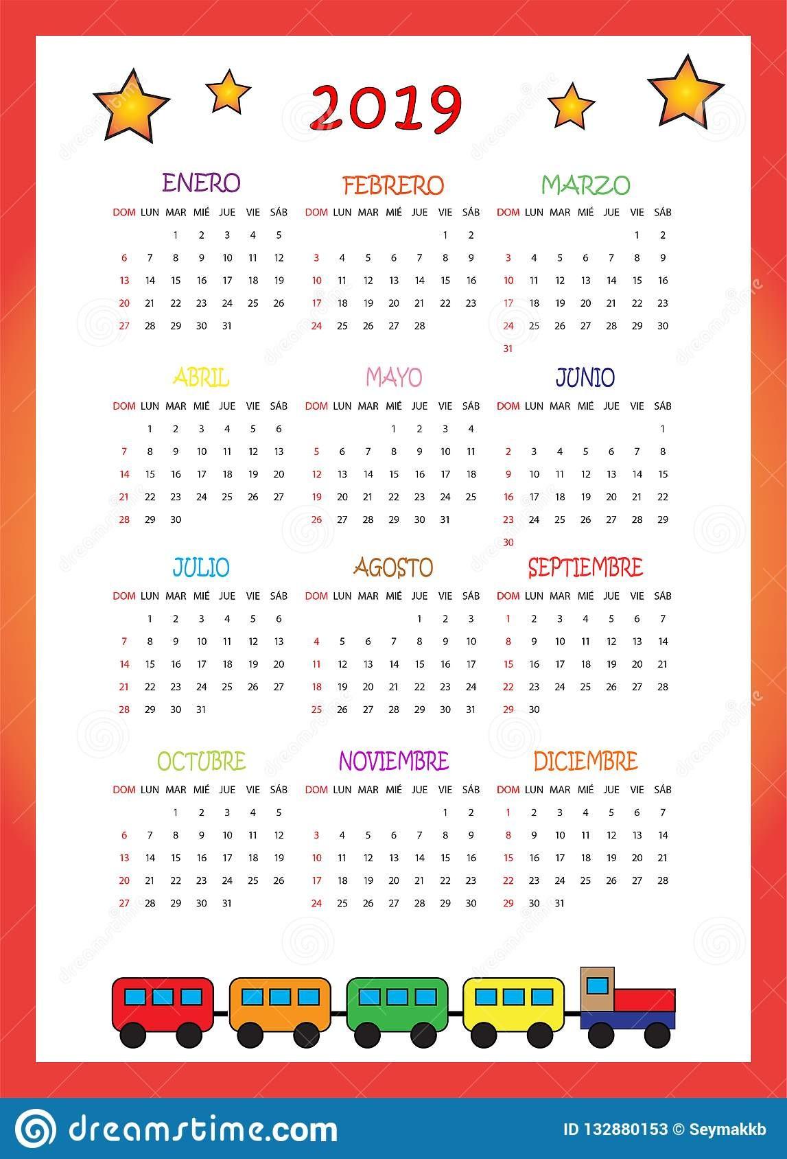un colorido calendario para niños con estrellas calendario per i bambini