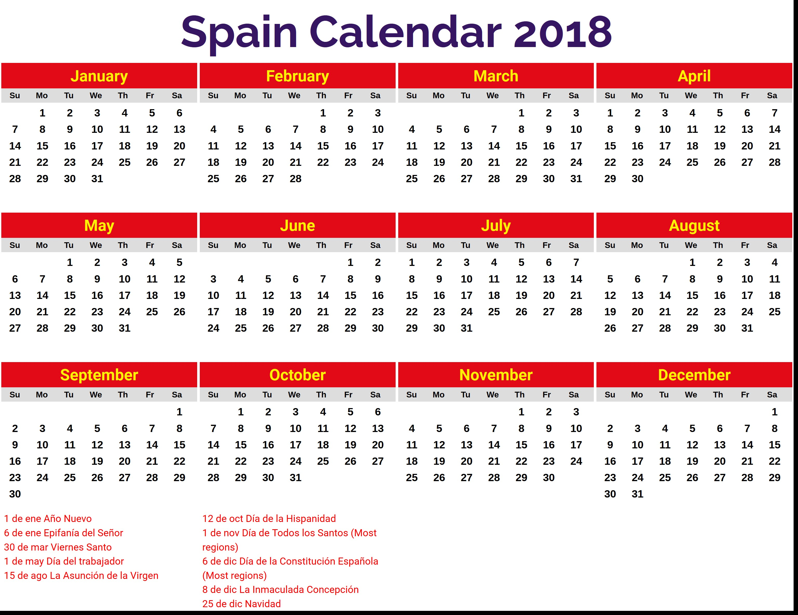 calendario 2018 vacaciones espana