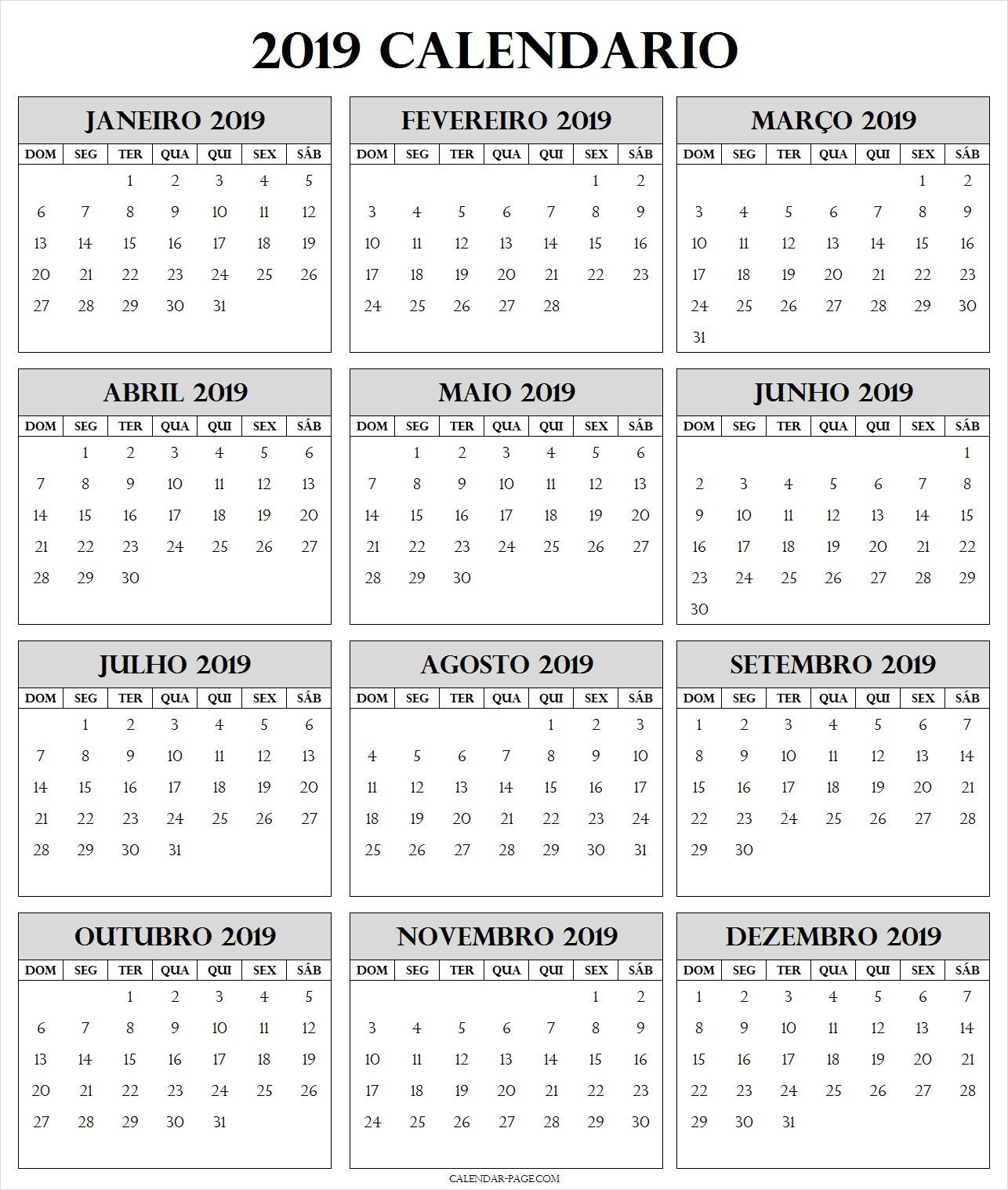 Modelo Anual Do Calendario 2019