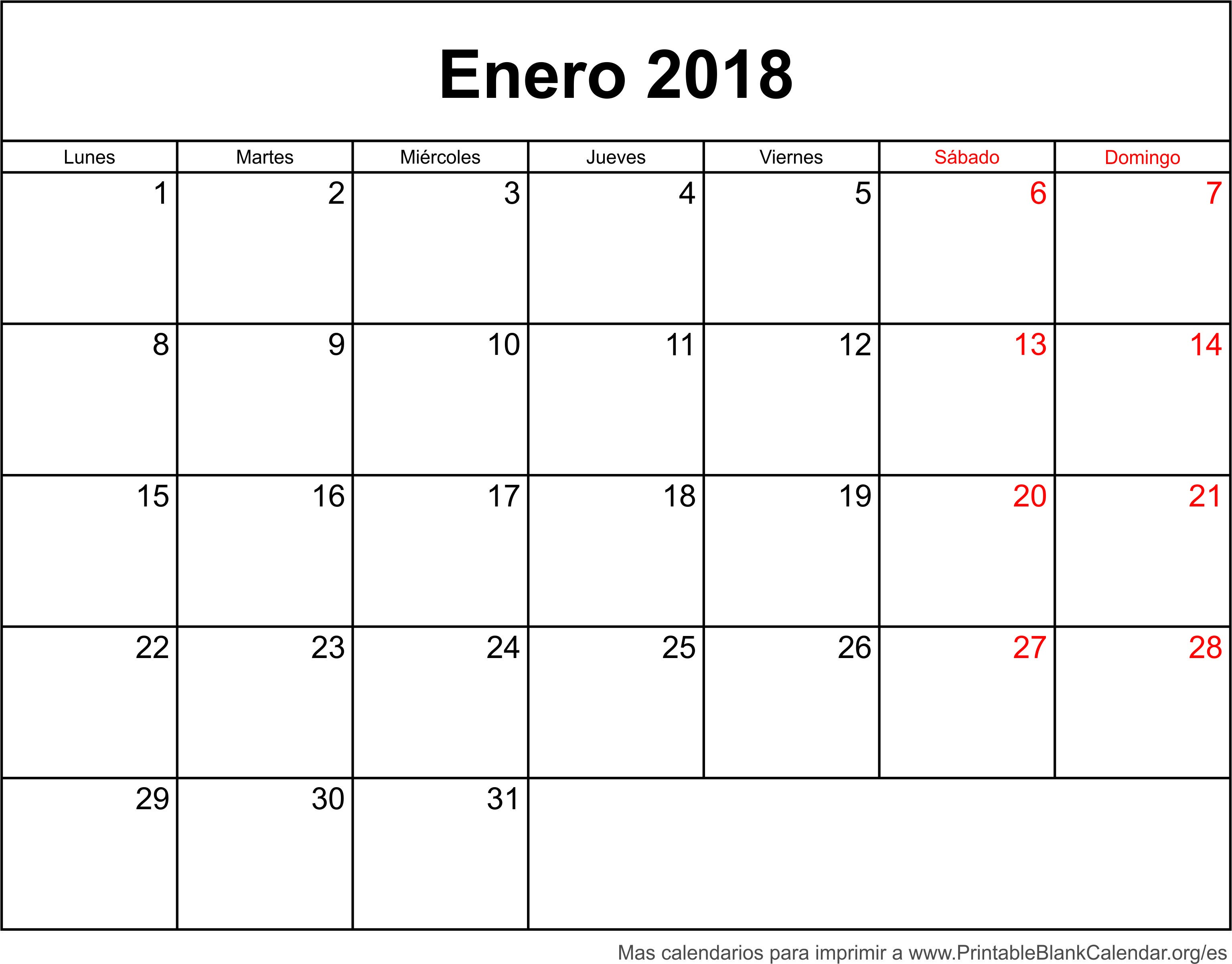 enero 2018 calendario on 2016 para imprimir