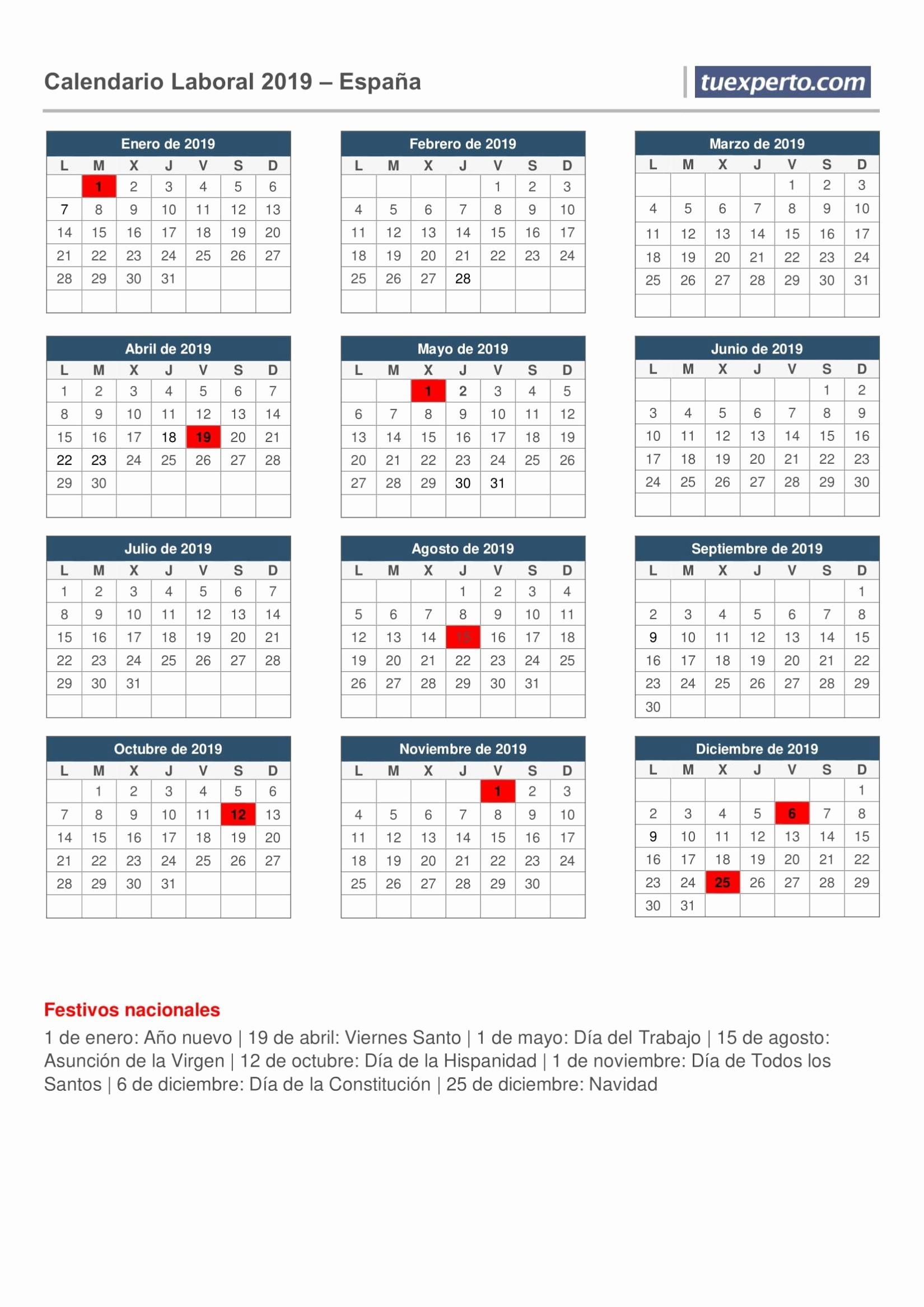 calendario 2019 feriados excel mas caliente es calendario 2019 con los dias festivos of calendario 2019 feriados excel