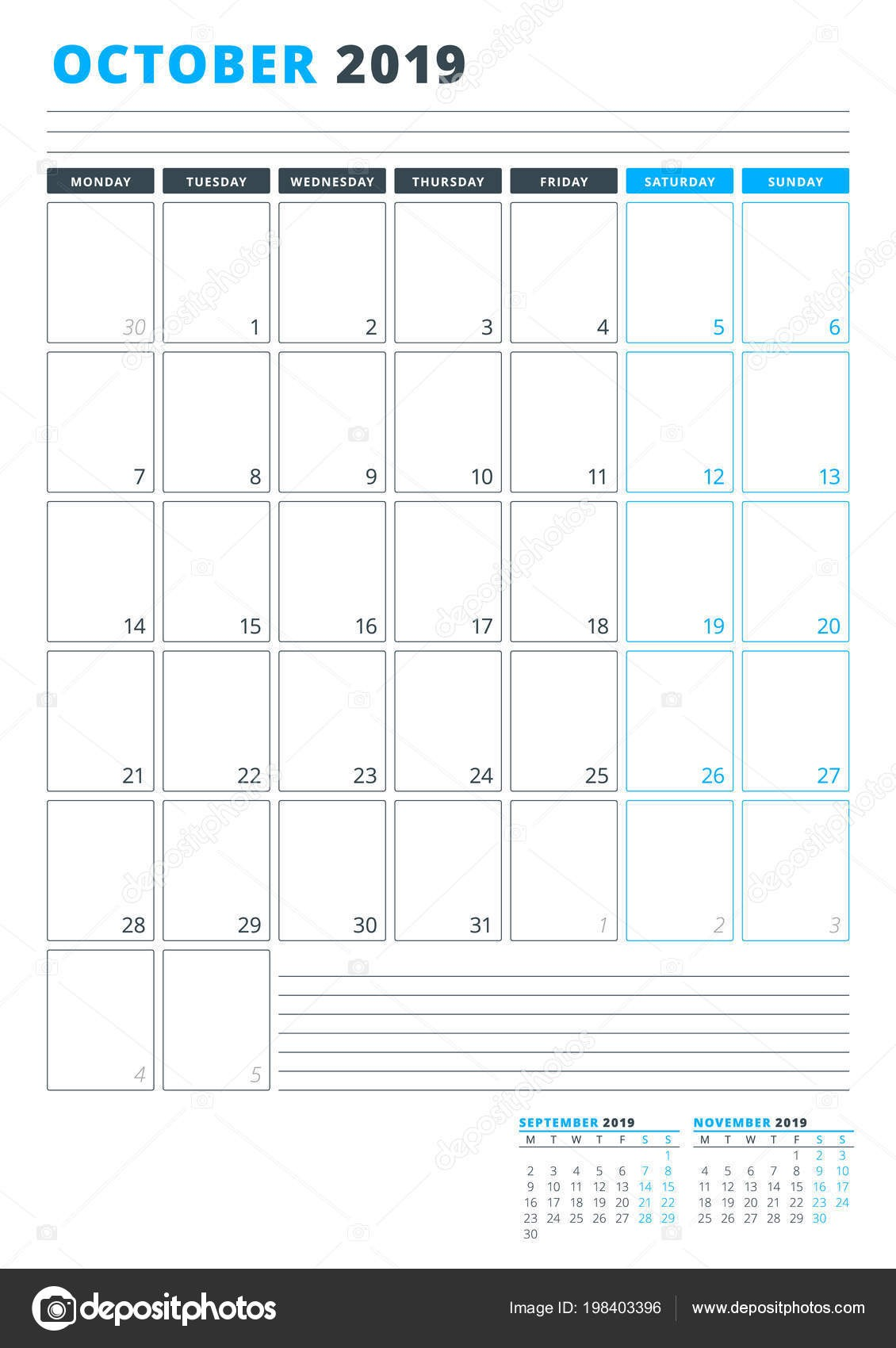 depositphotos stock illustration calendar template october 2019 business