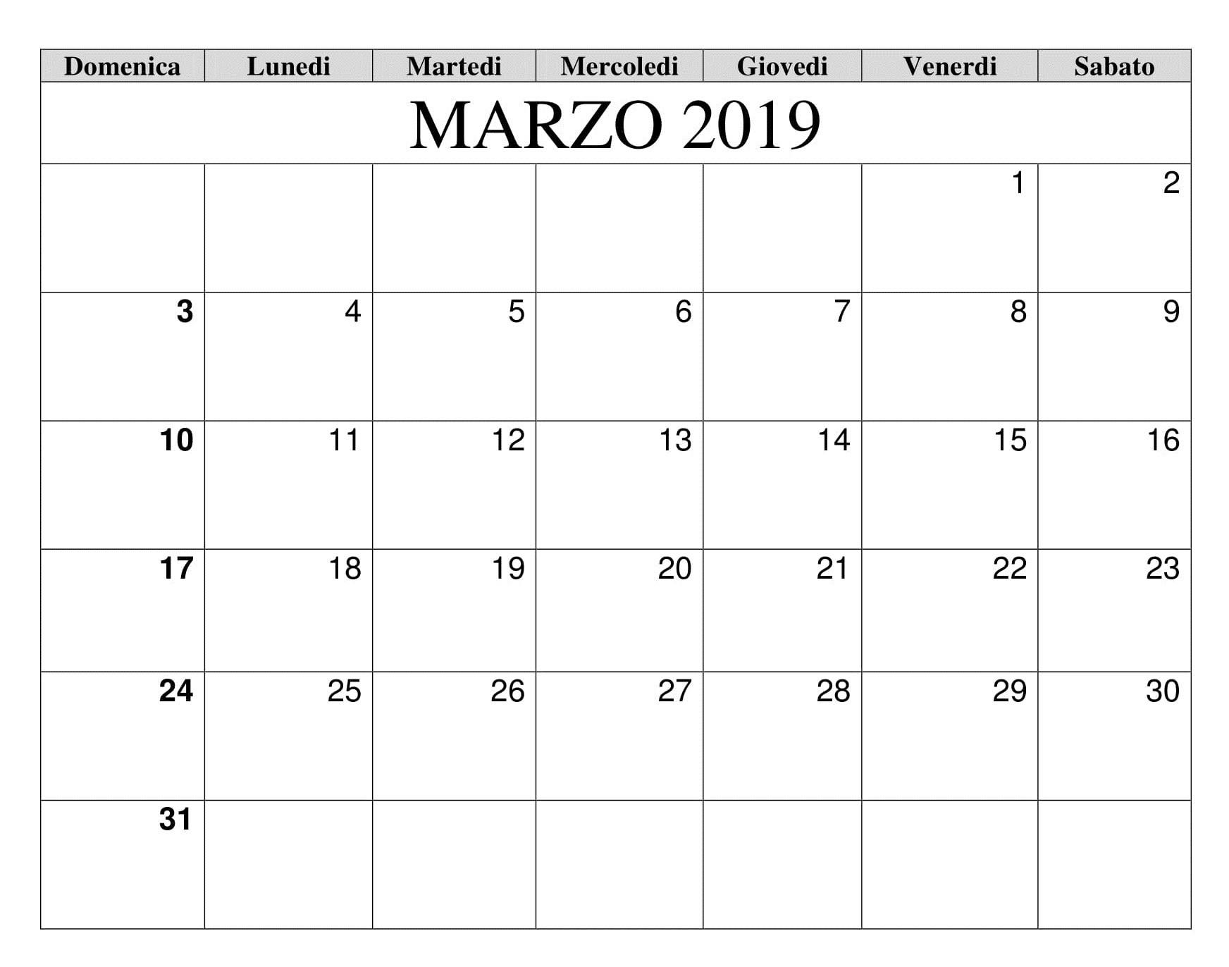 Calendario Marzo 2019 Da Stampare Excel