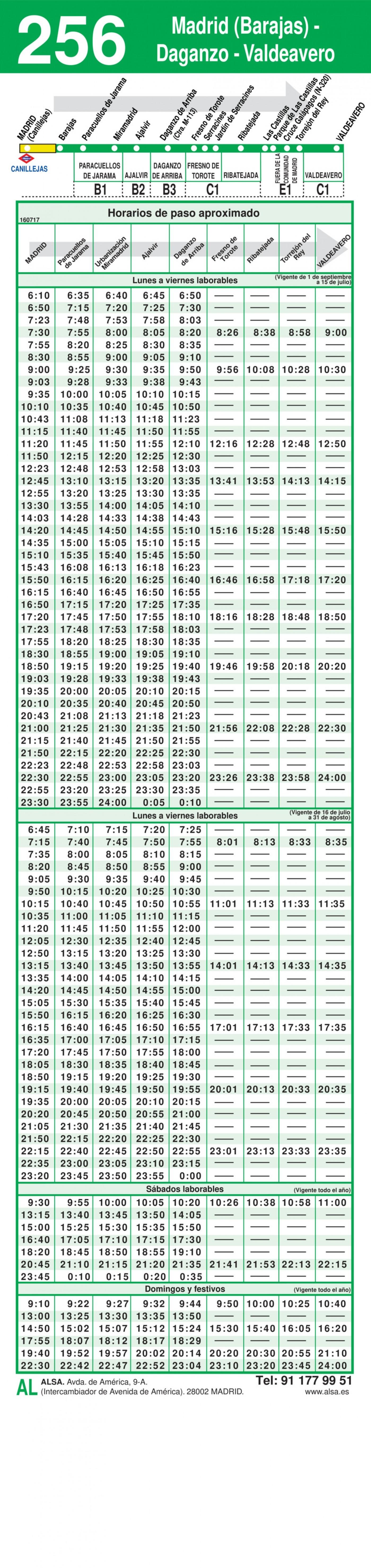 horario ida 256 madrid ajalvir valdeavero autobuses interurbanos