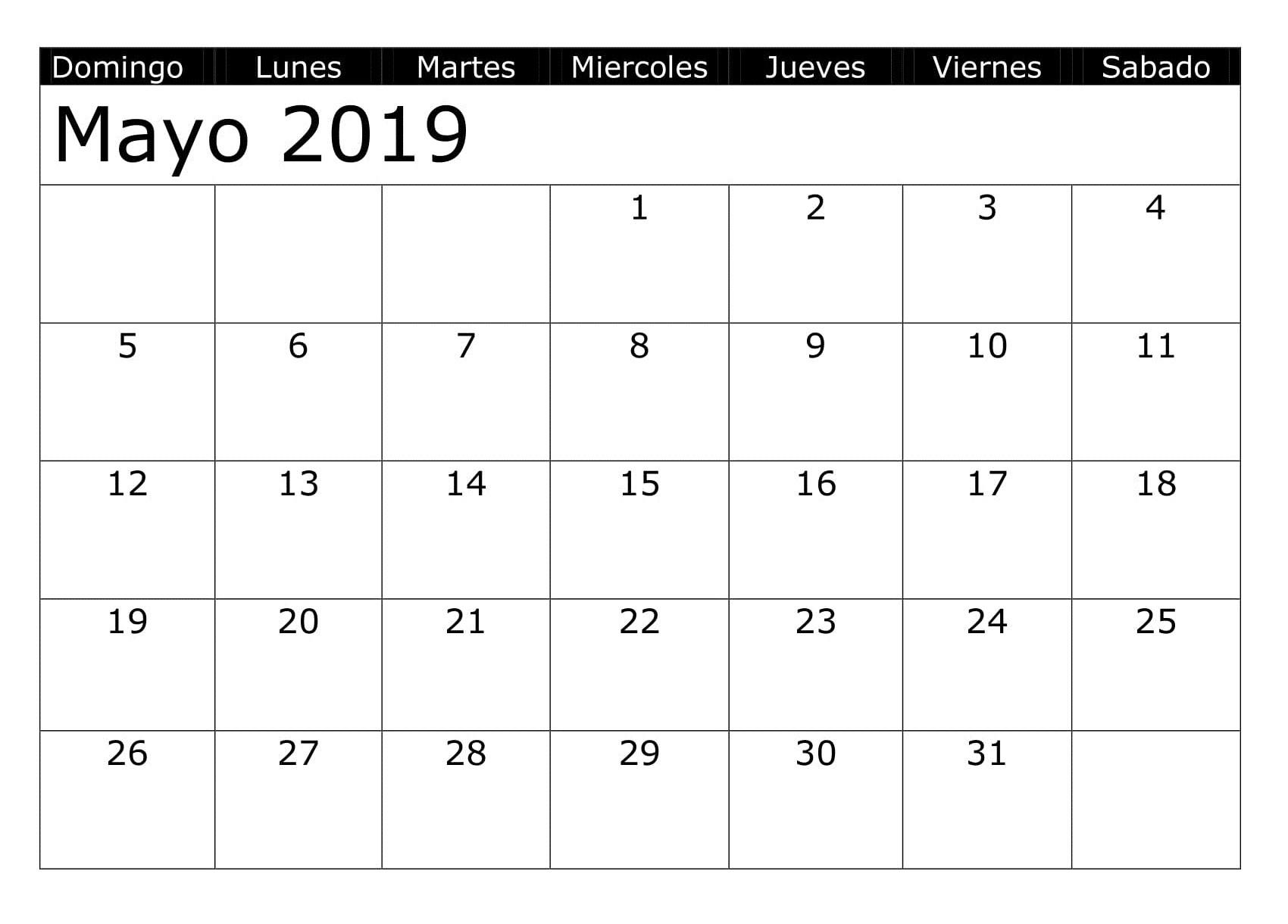 Calendario Mayo 2019 Grande 3