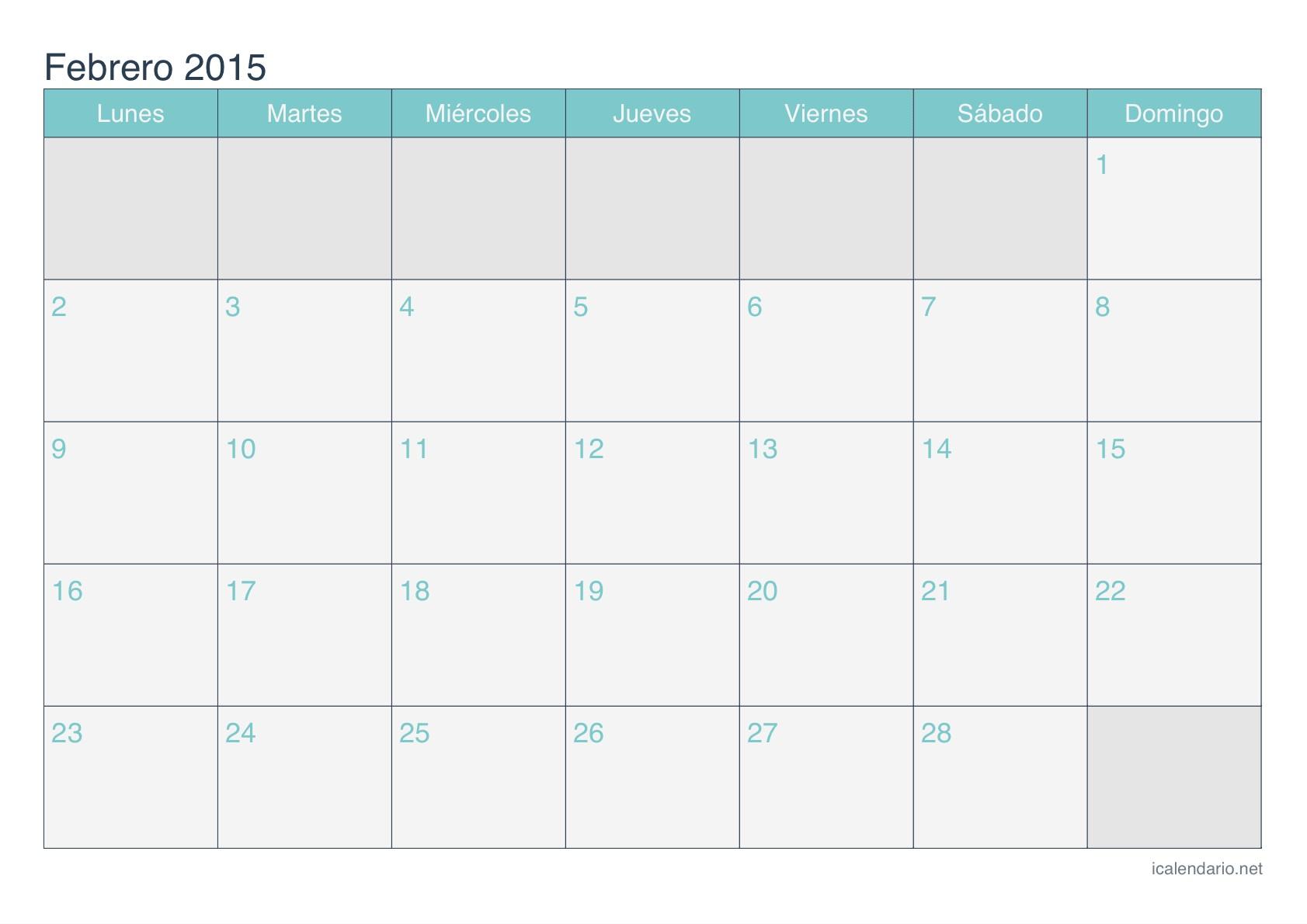 calendario febrero 2015 turquesa