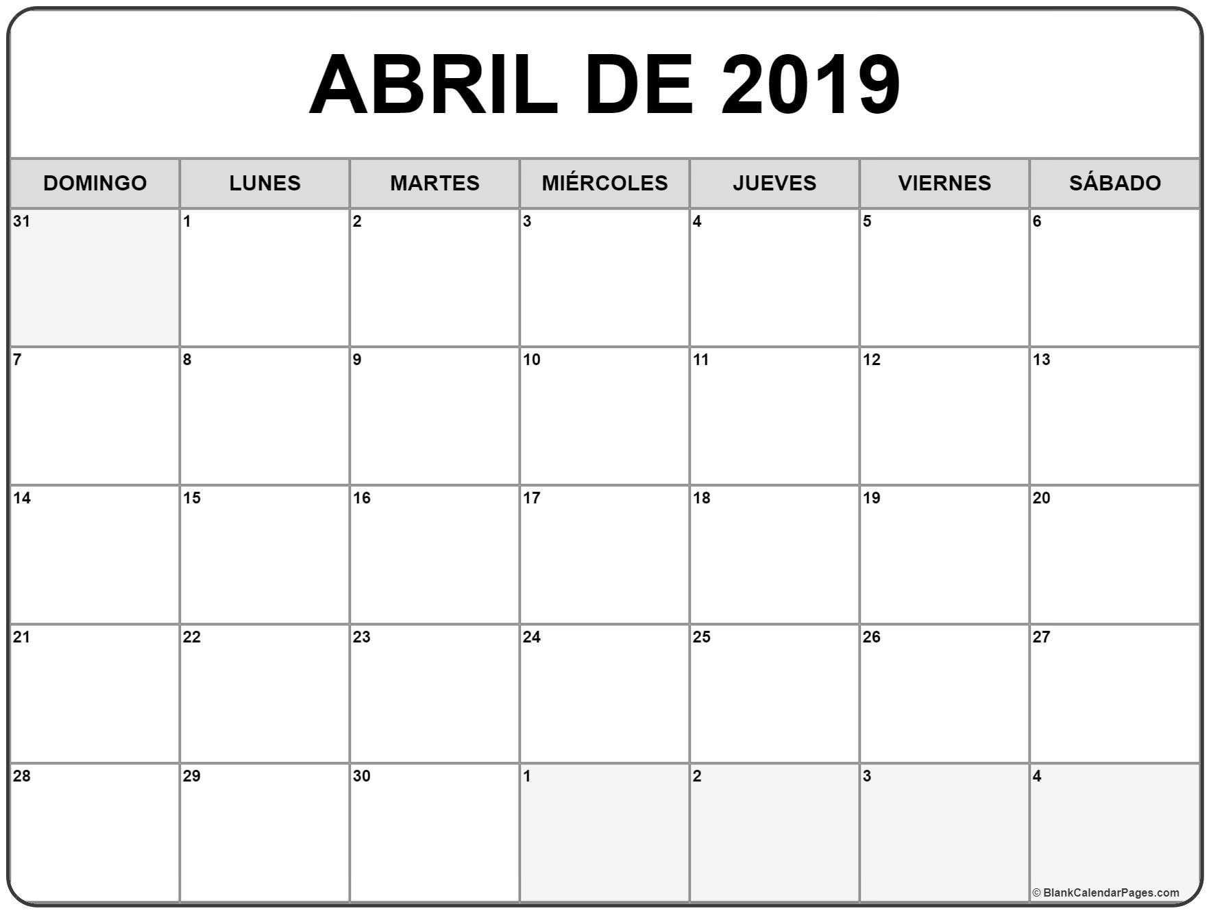 Calendario Abril 2019 Para Imprimir Gratis 3